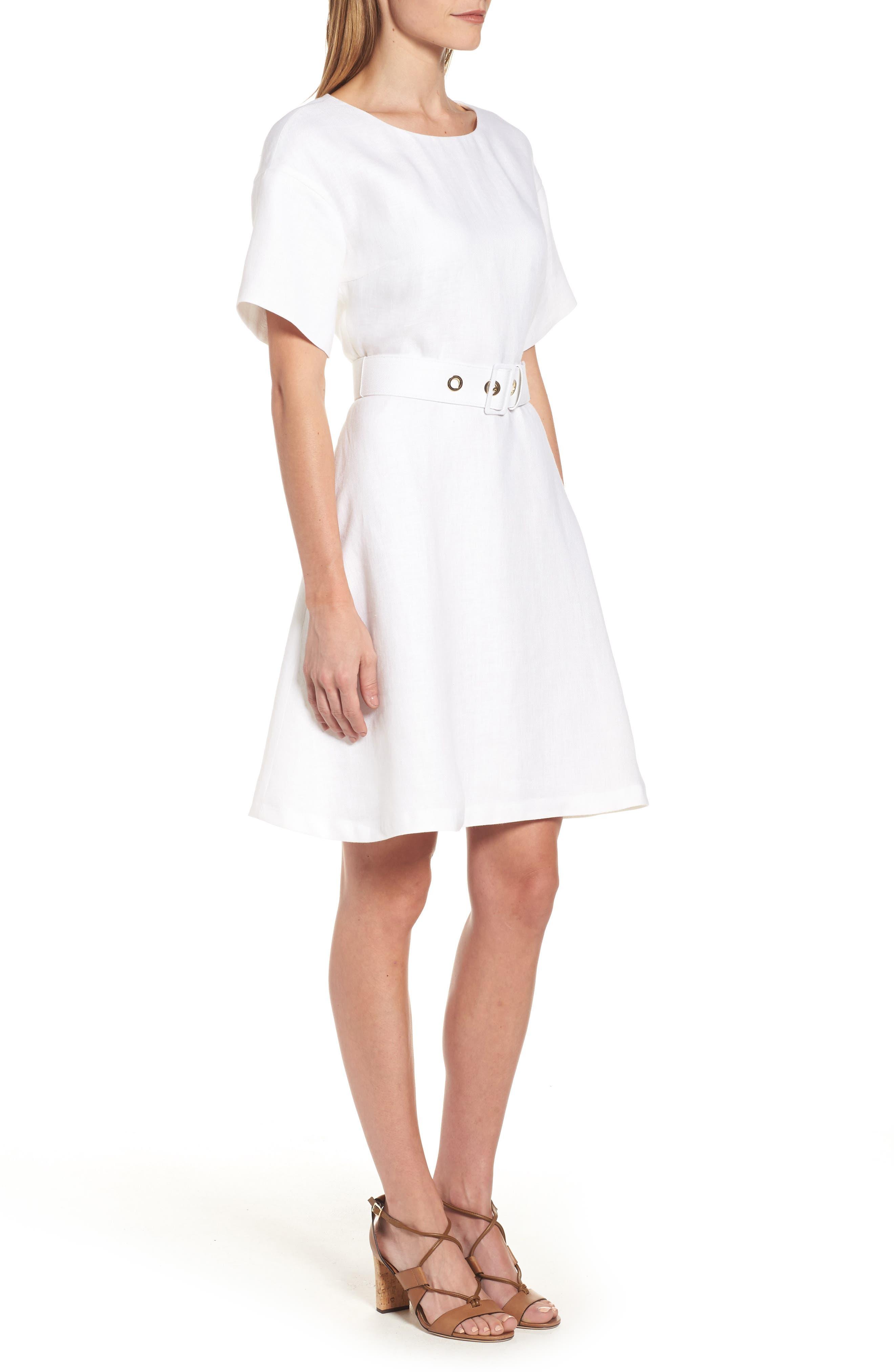 Alternate Image 3  - BOSS Dimisa Linen Belted A-Line Dress (Regular & Petite)