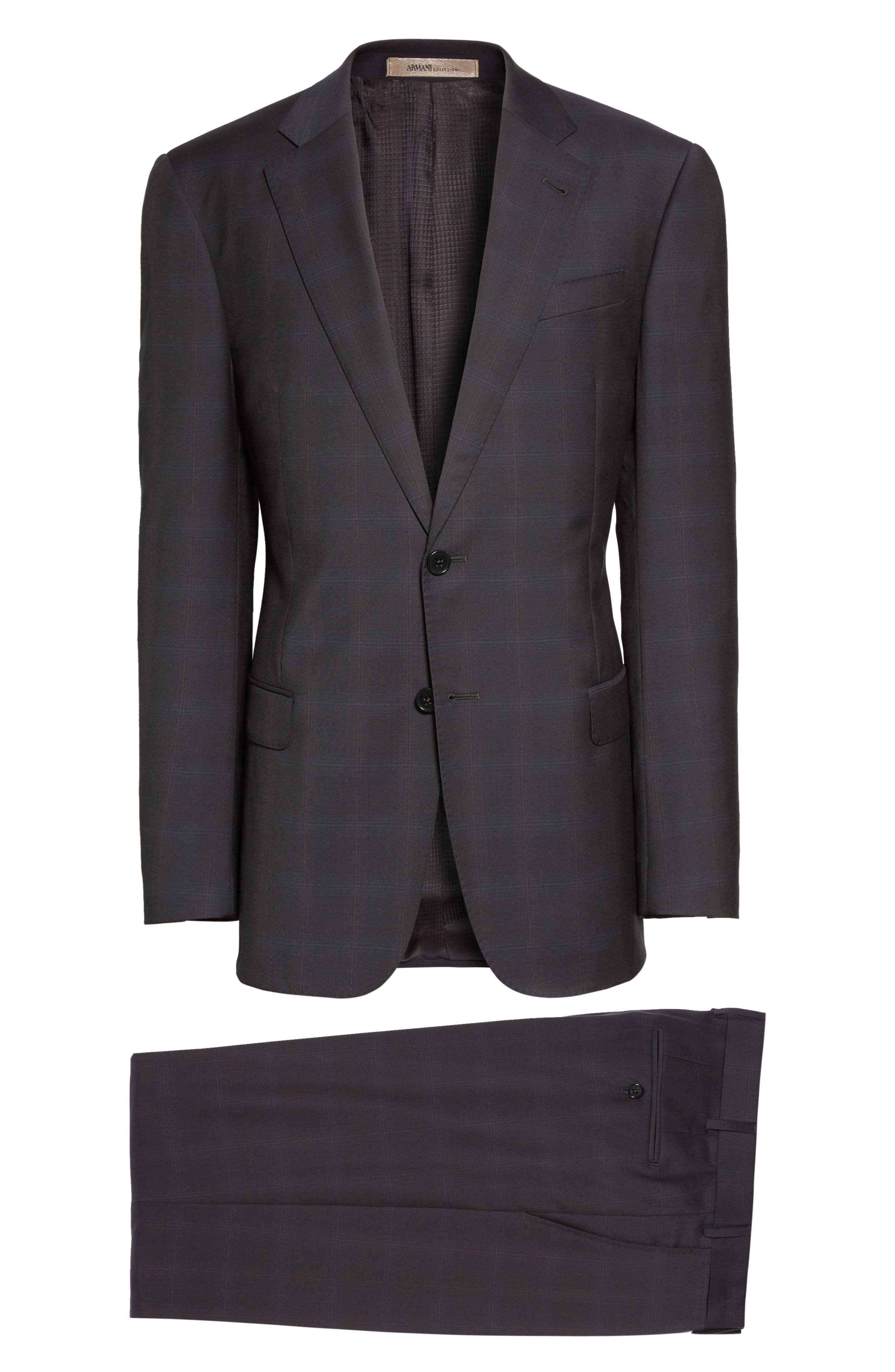 Alternate Image 8  - Armani Collezioni Trim Fit Plaid Wool Suit