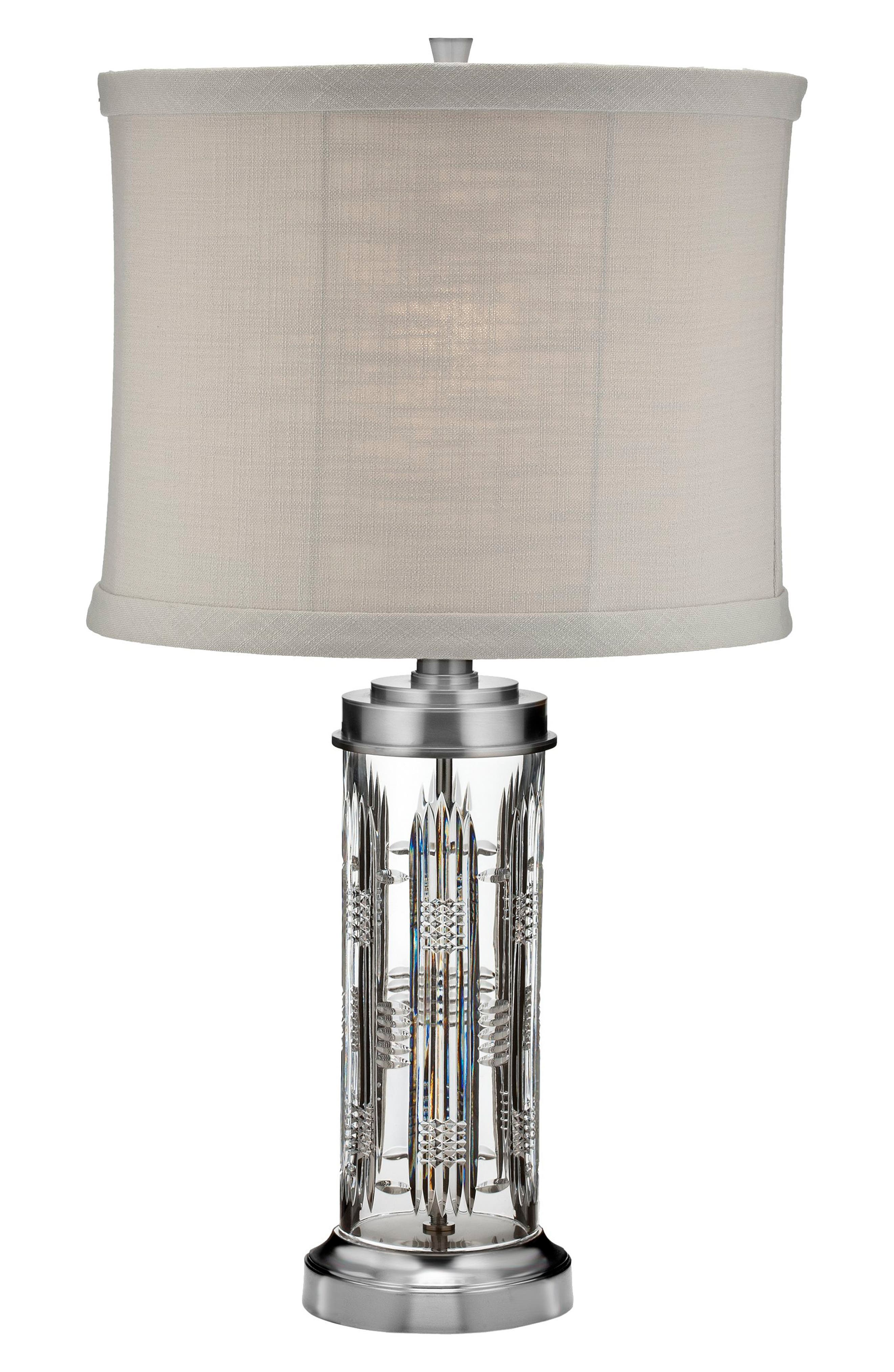 Dungarvan Lead Crystal Chrome Table Lamp,                         Main,                         color, Crystal
