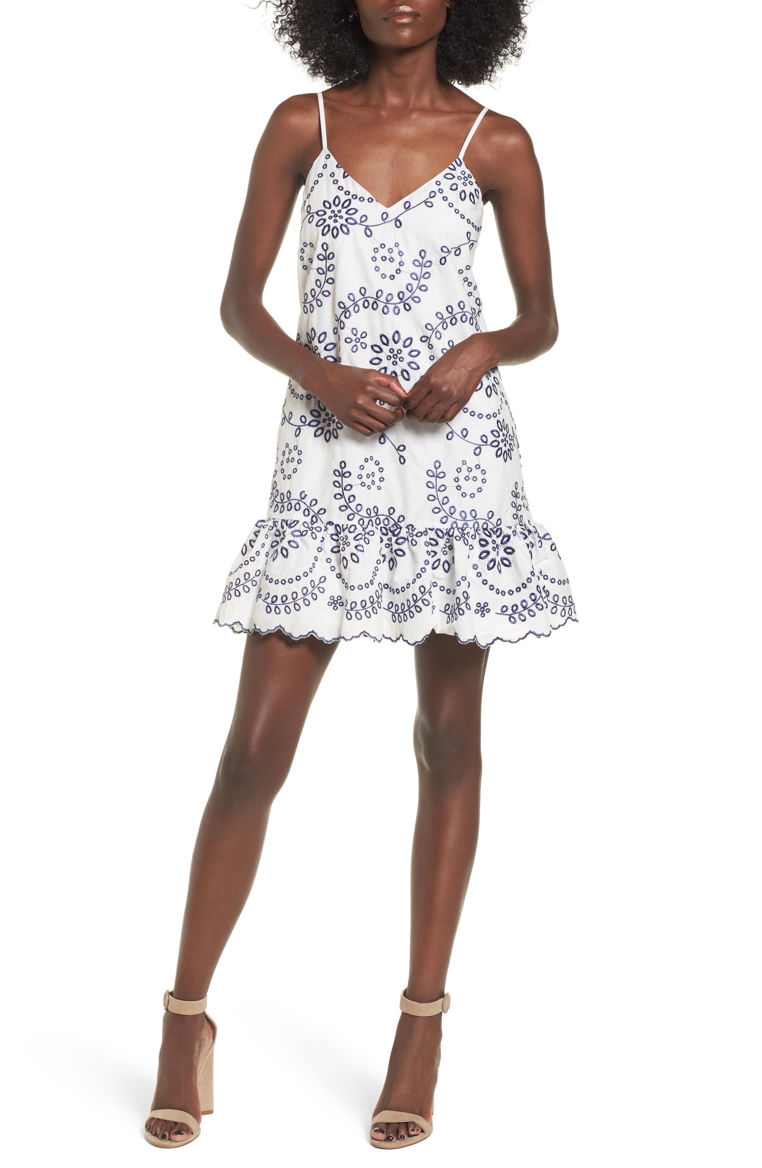 Main Image - devlin Geneva Embroidered Cotton Slipdress