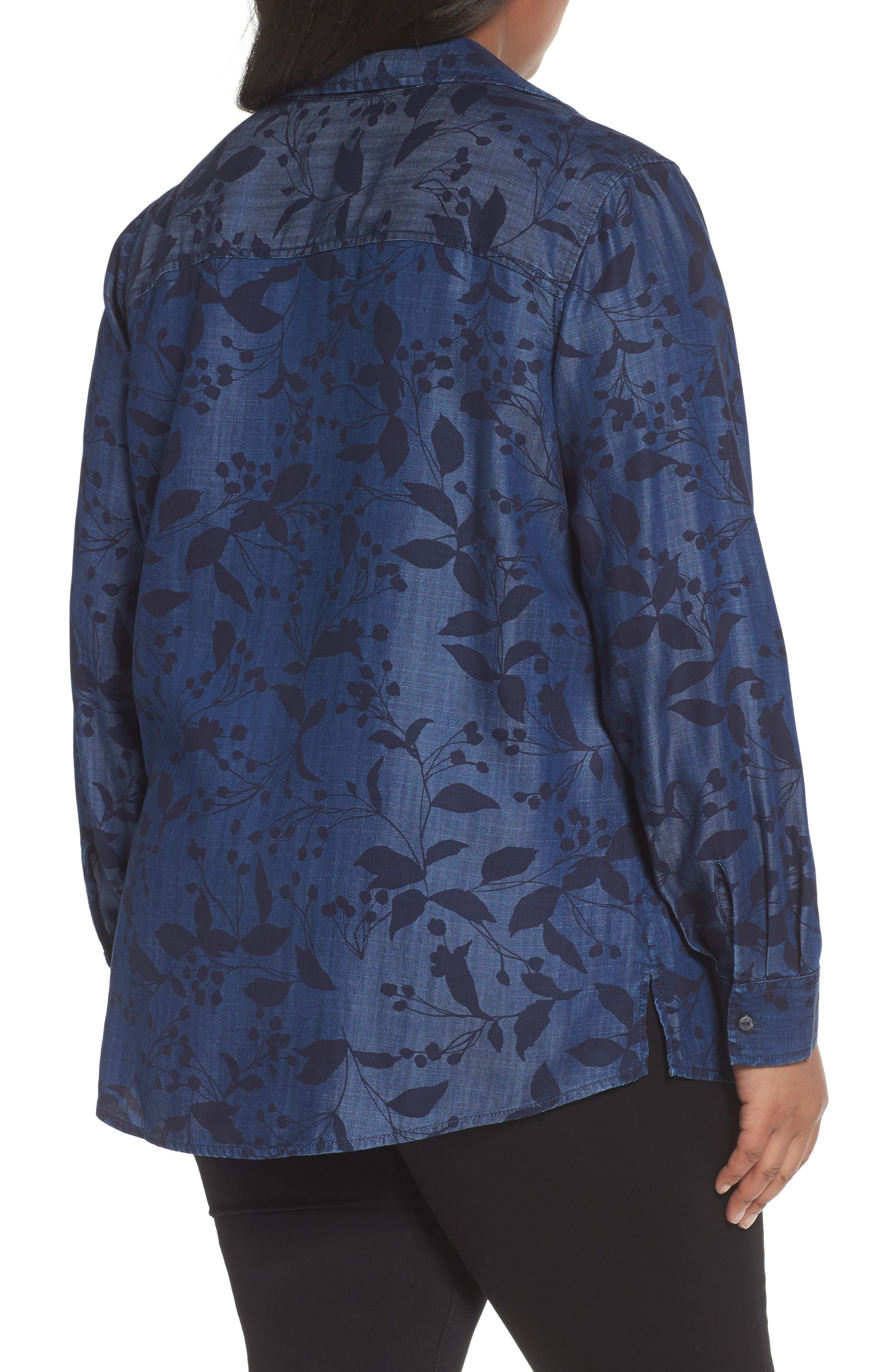 Alternate Image 2  - Foxcroft Addison Floral Print Tencel® Shirt (Plus Size)