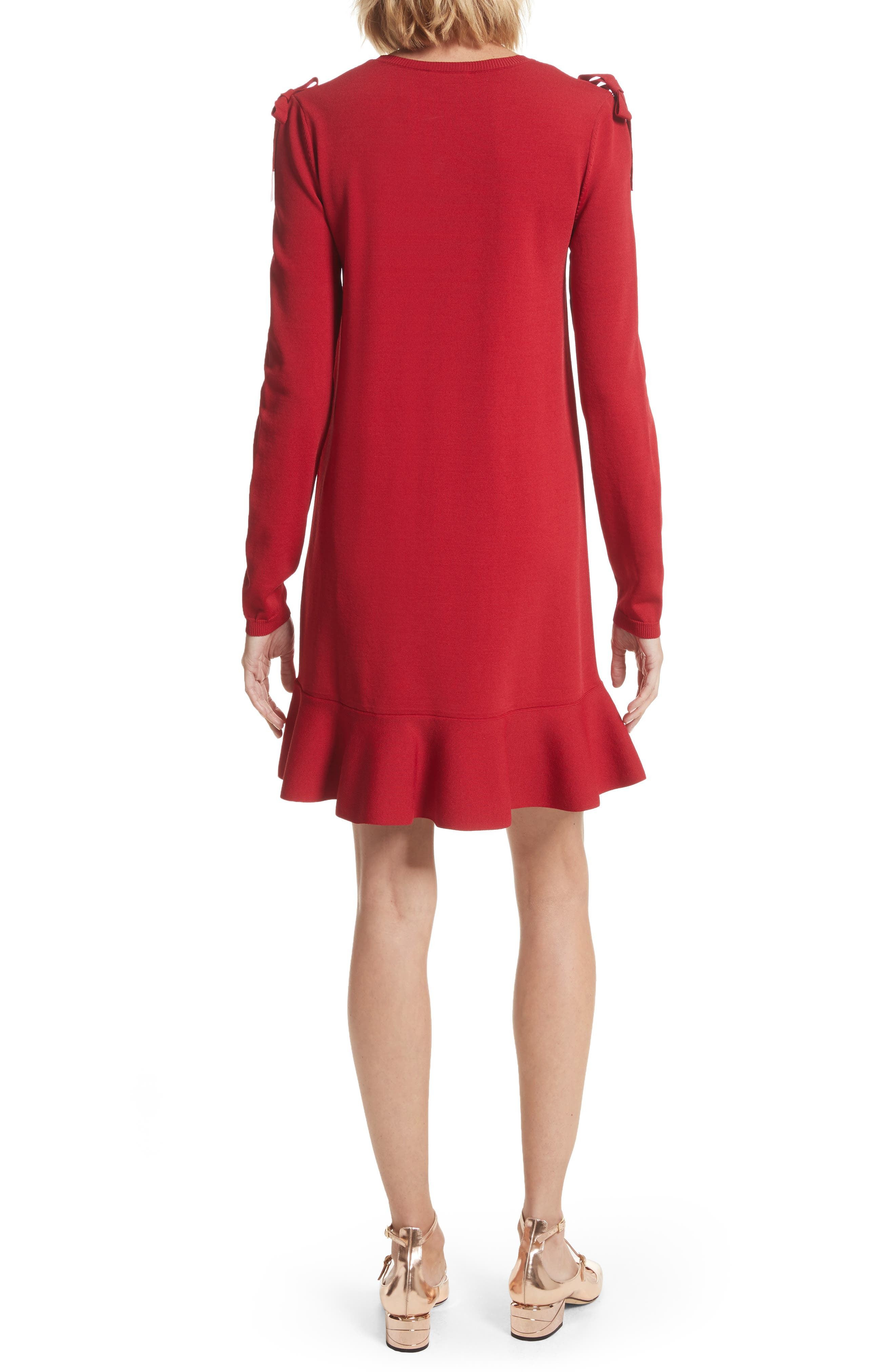 Bow Knit Dress,                             Alternate thumbnail 2, color,                             Lacca
