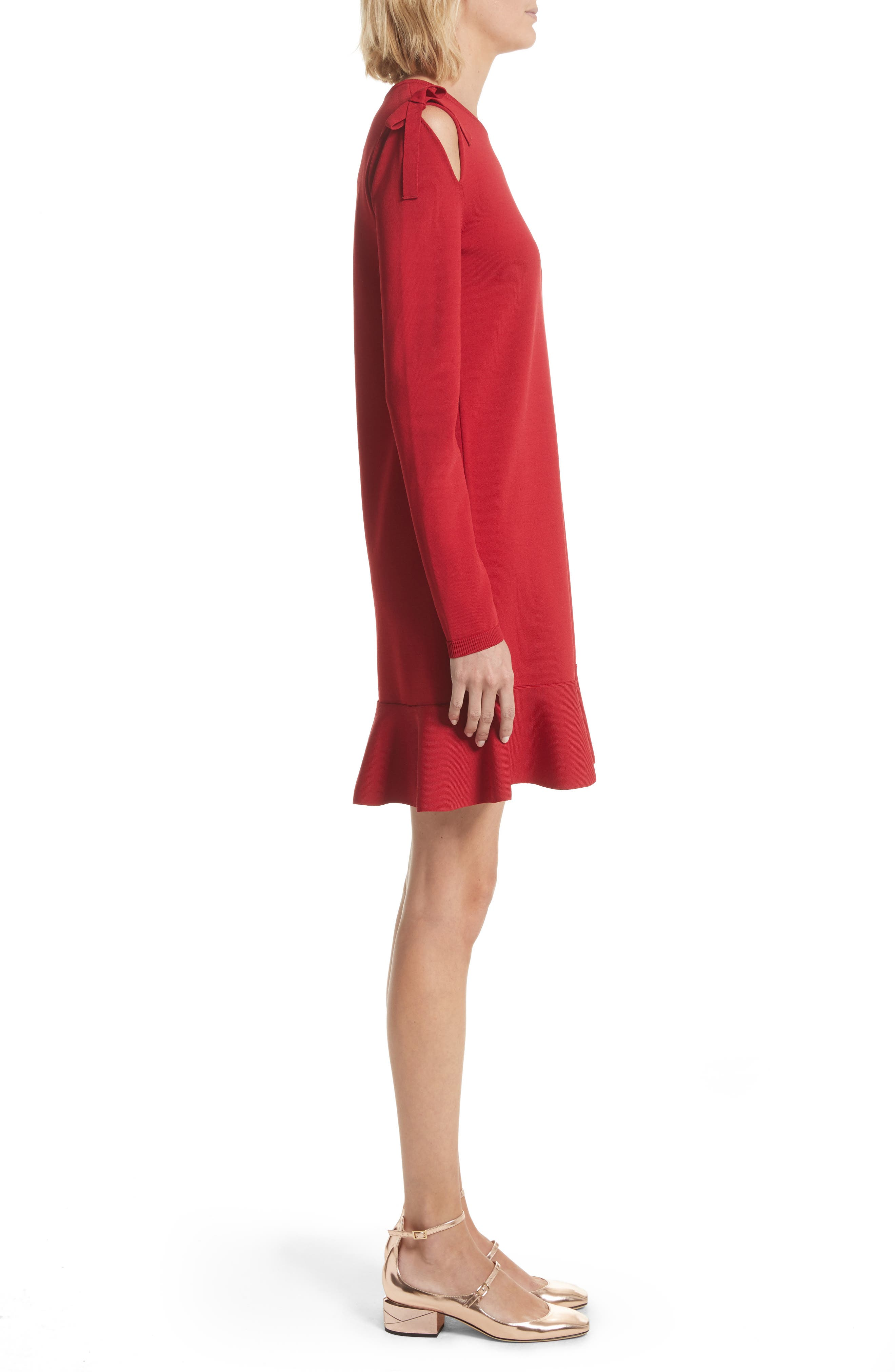 Bow Knit Dress,                             Alternate thumbnail 3, color,                             Lacca