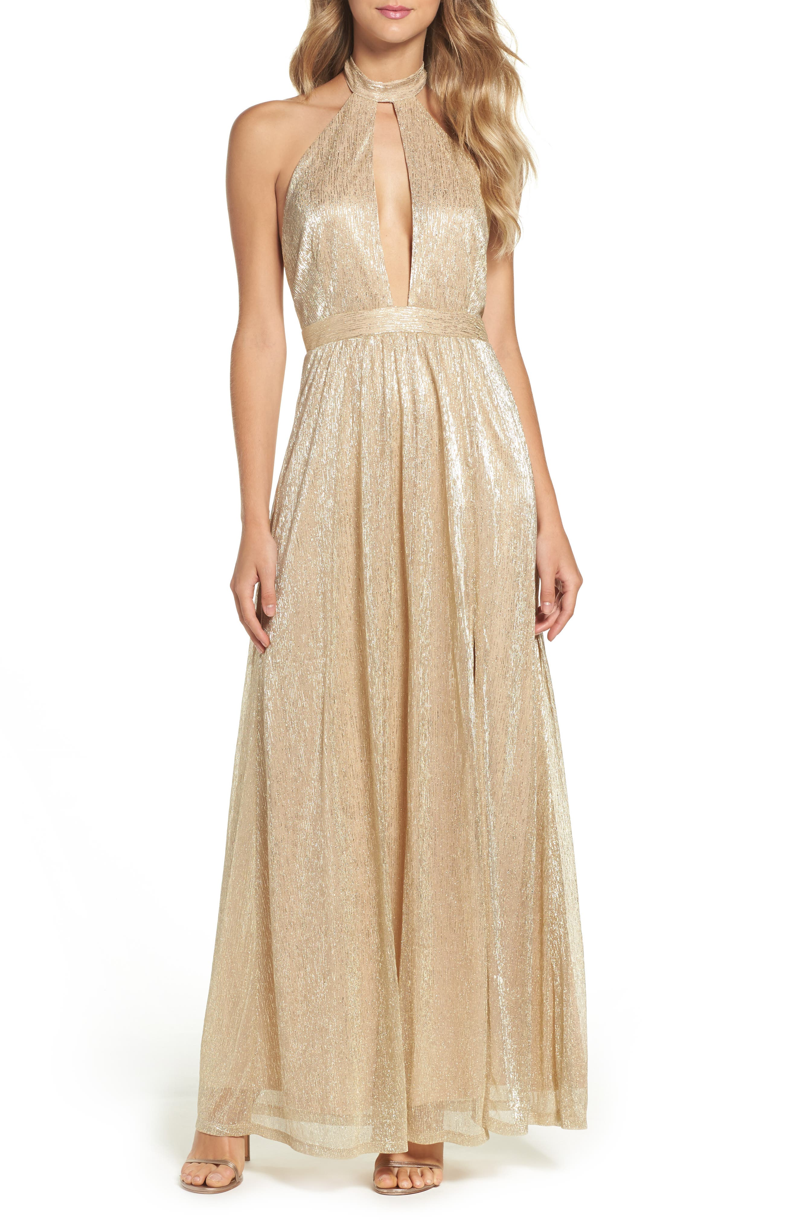 Metallic Halter Gown,                         Main,                         color, Gold