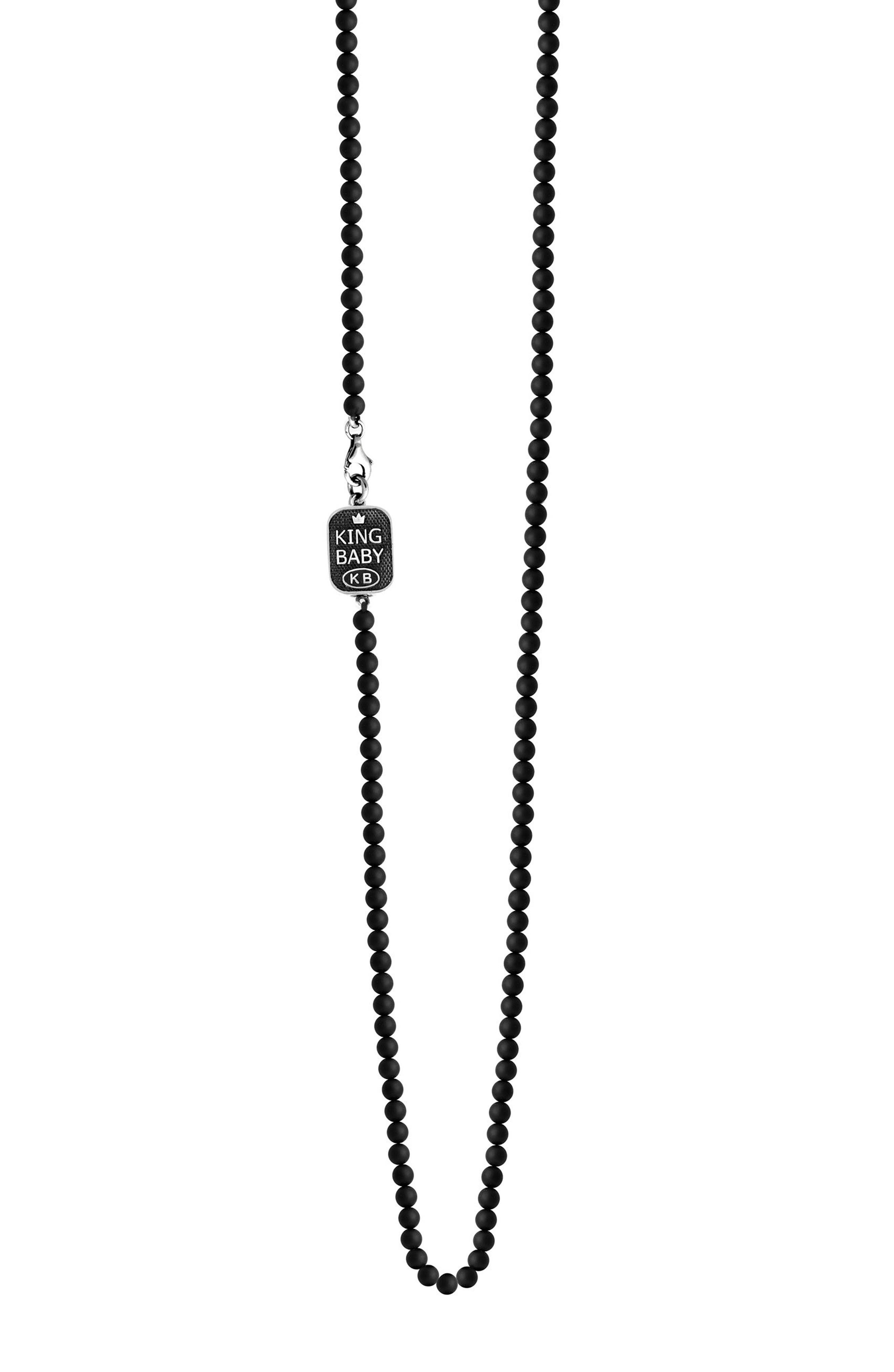 Onyx Bead Necklace,                             Main thumbnail 1, color,                             Black
