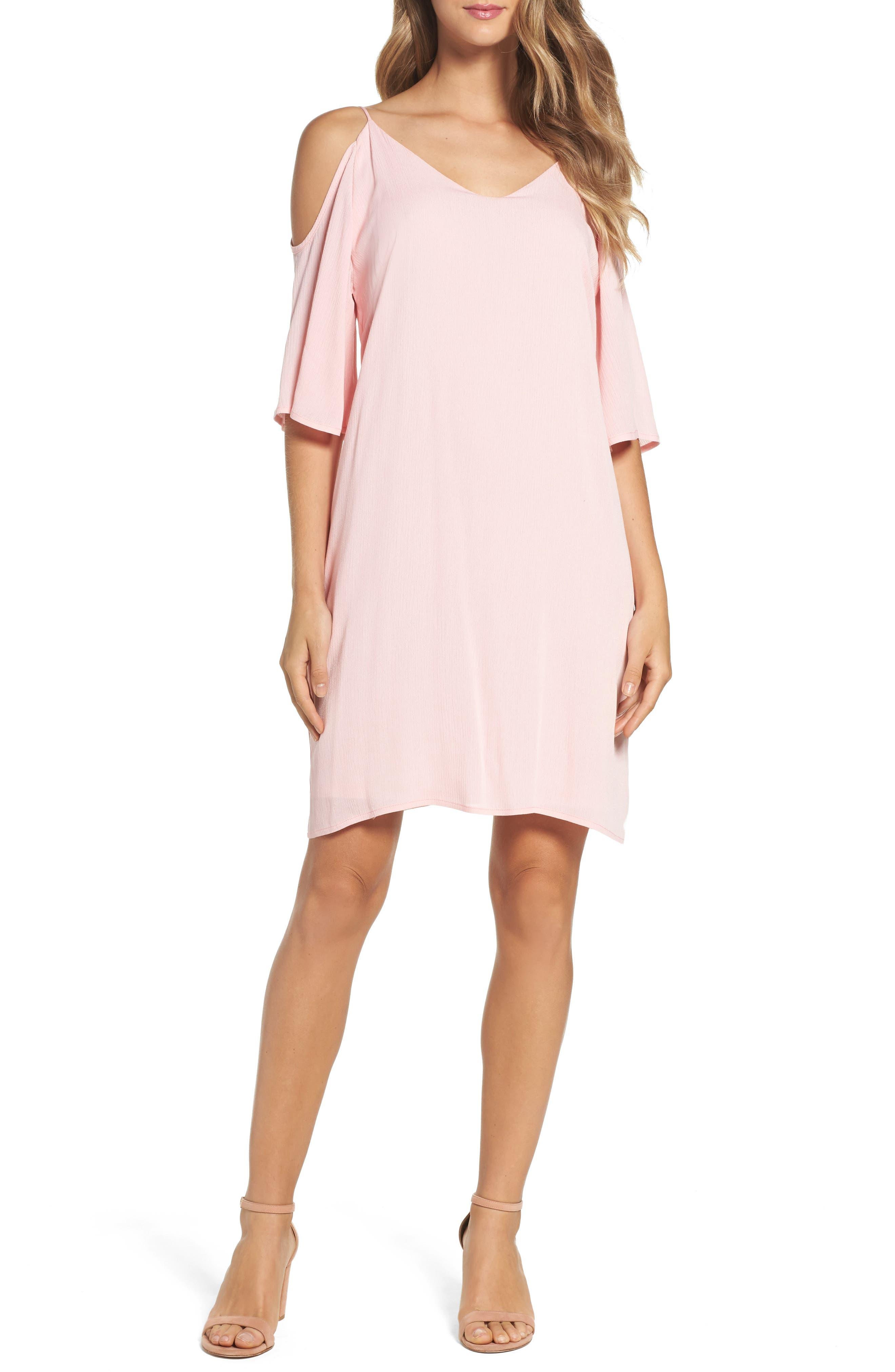 Cold Shoulder Shift Dress,                         Main,                         color, Rose
