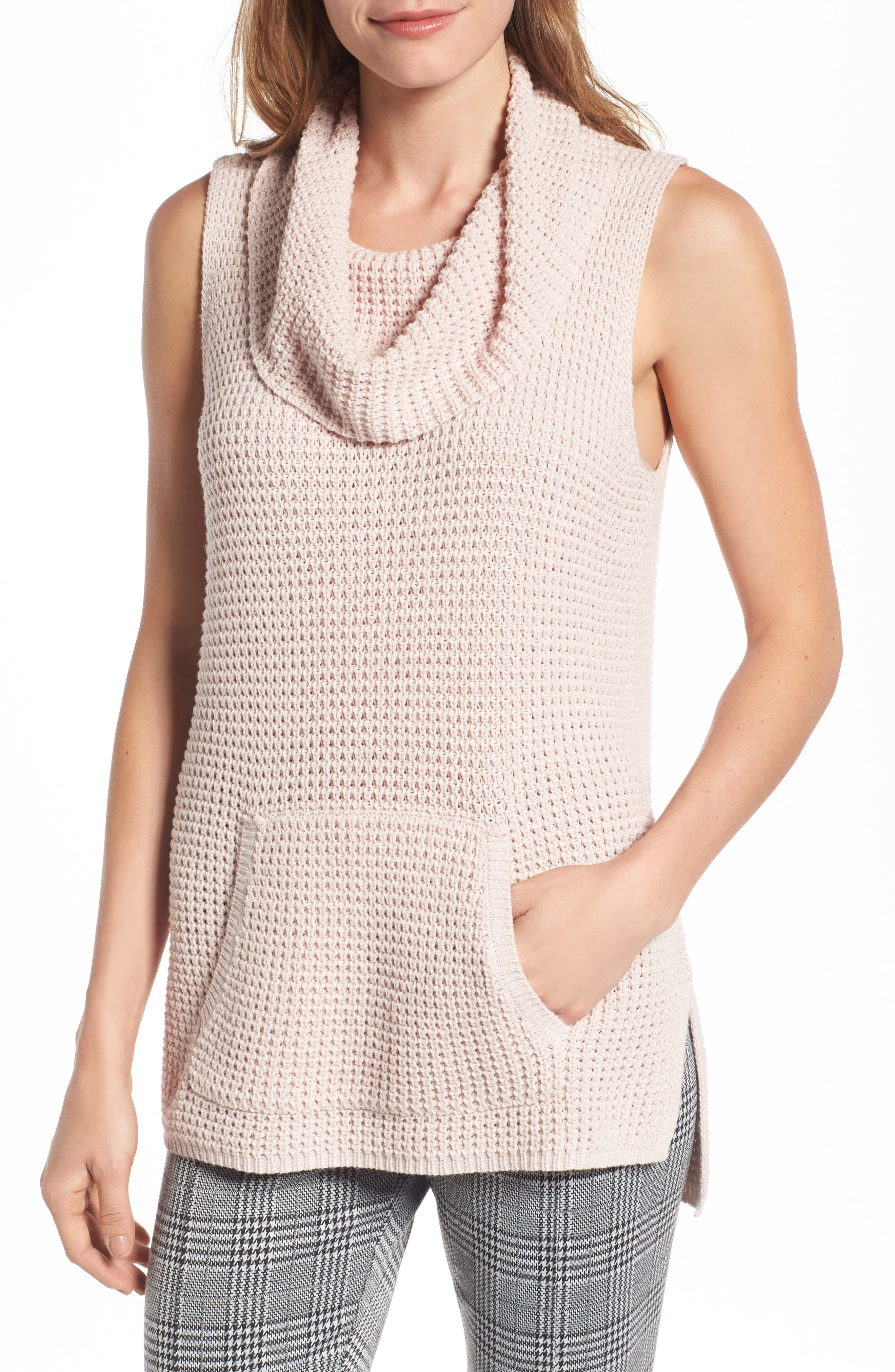 Alternate Image 1 Selected - Two by Vince Camuto Waffle Stitch Vest (Regular & Petite)