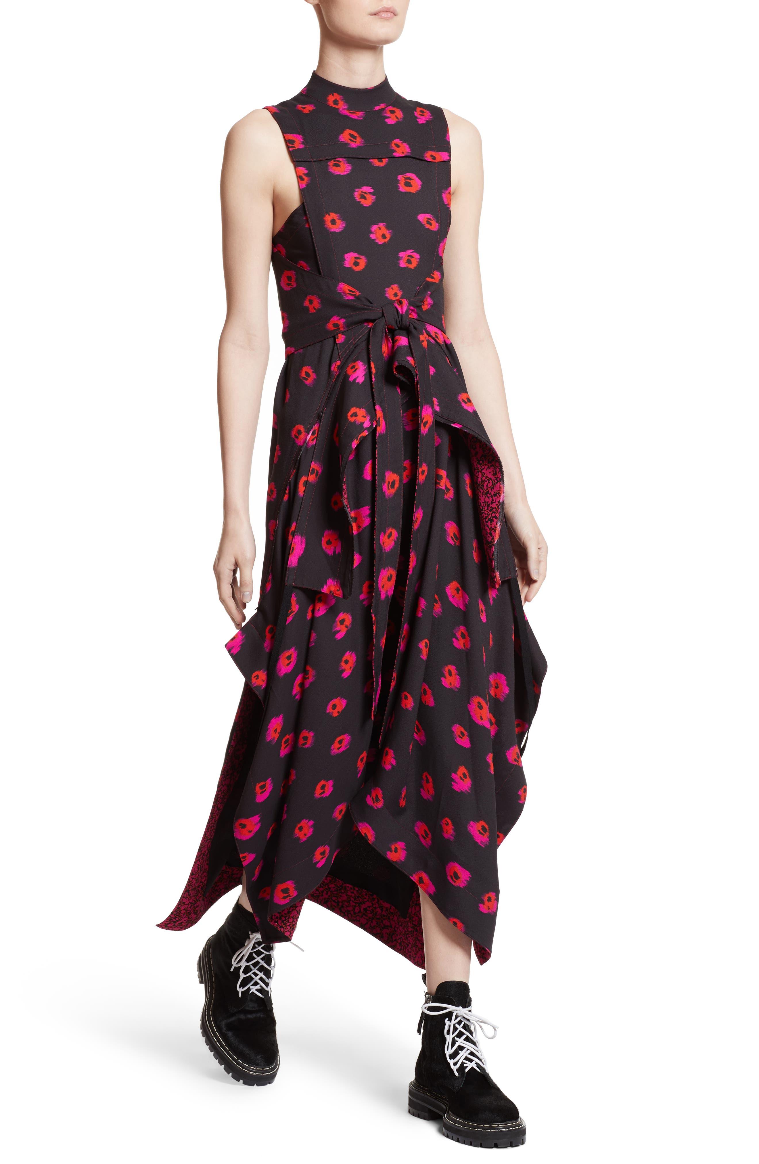 Tie Waist Ikat Maxi Dress,                             Alternate thumbnail 4, color,                             Black/ Electric Pink