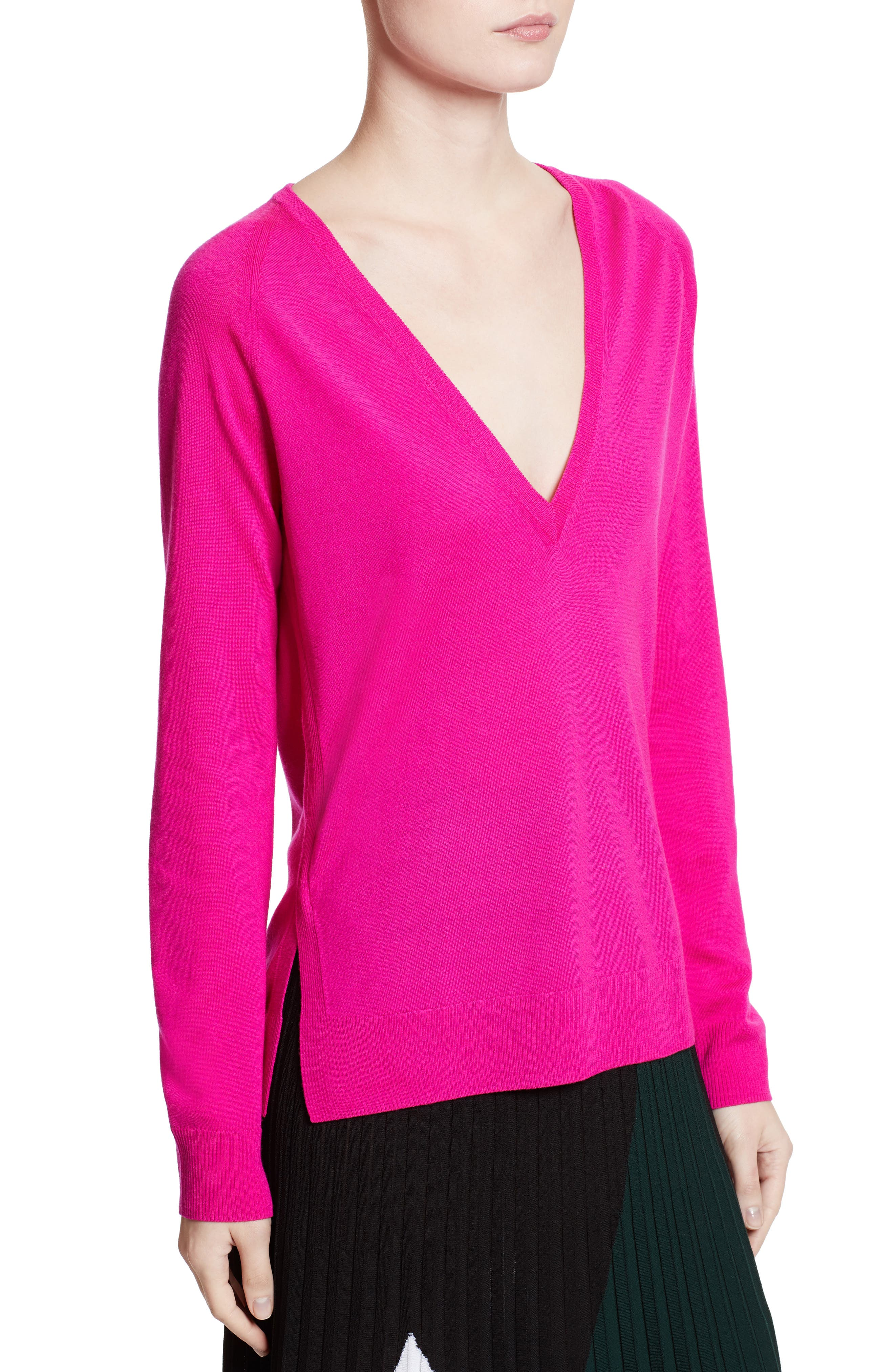 Plunging V-Neck Merino Wool Sweater,                             Main thumbnail 1, color,                             Electric Pink