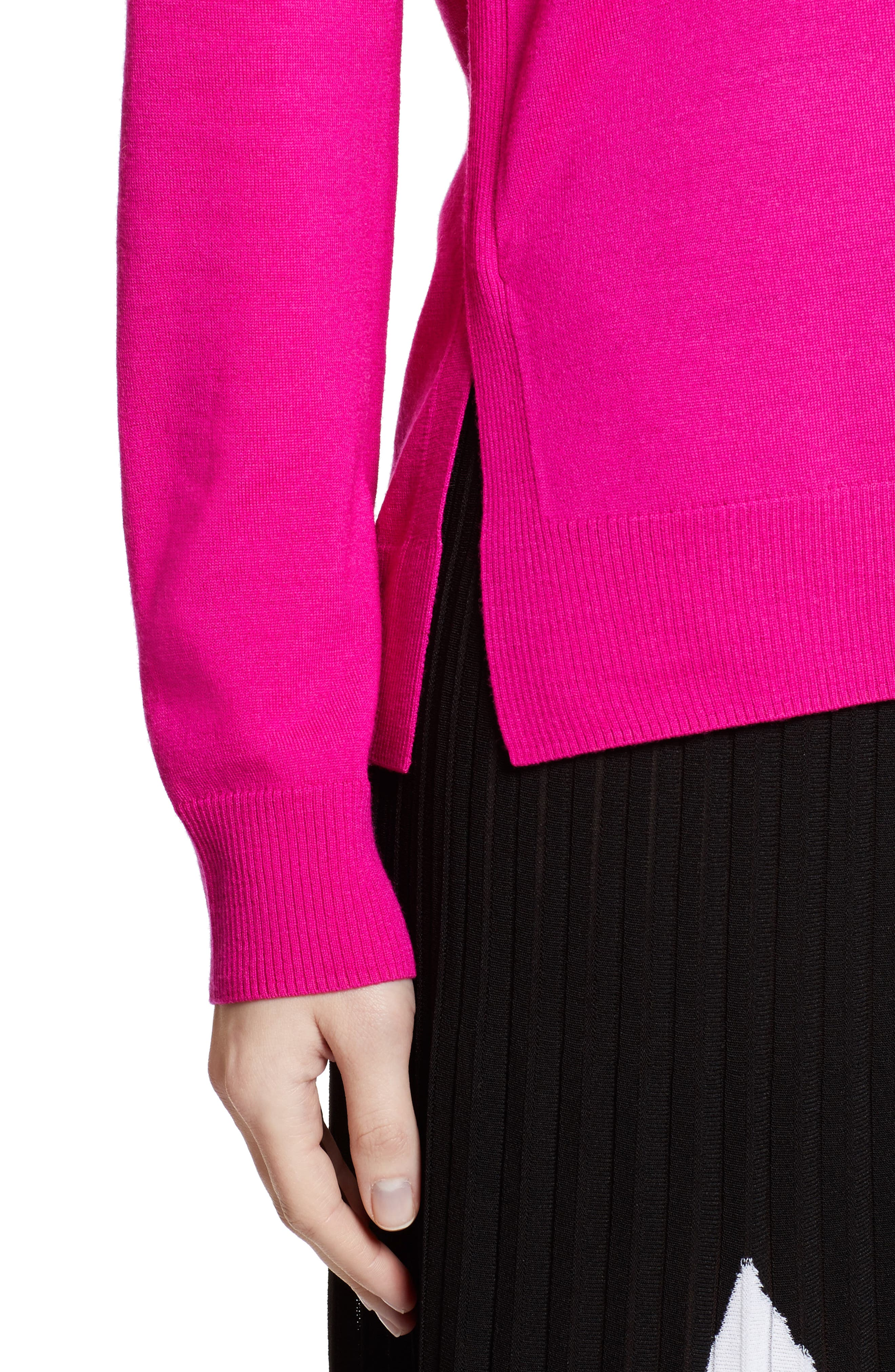 Plunging V-Neck Merino Wool Sweater,                             Alternate thumbnail 6, color,                             Electric Pink