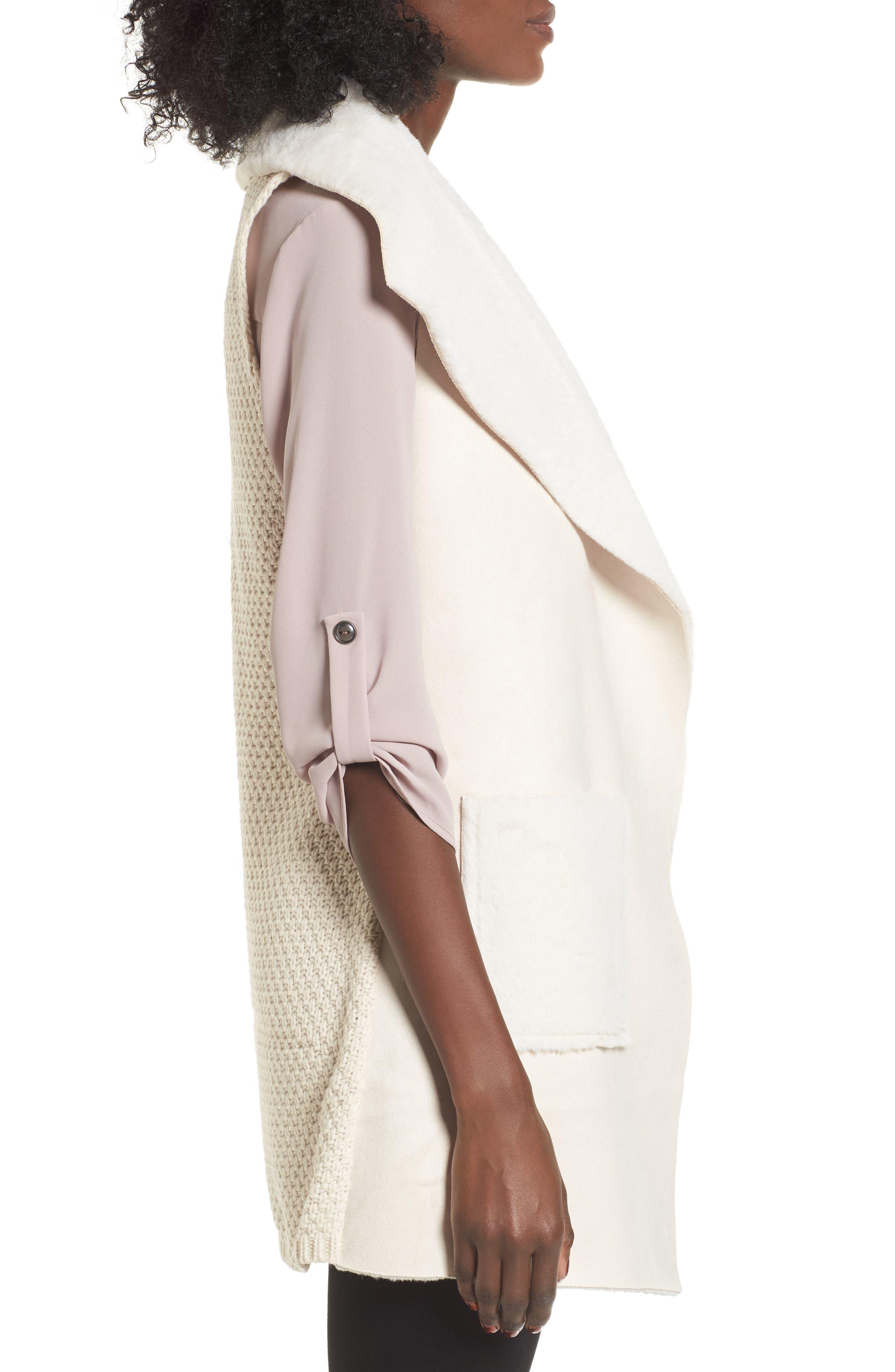 Faux Shearling Vest,                             Alternate thumbnail 3, color,                             Ivory
