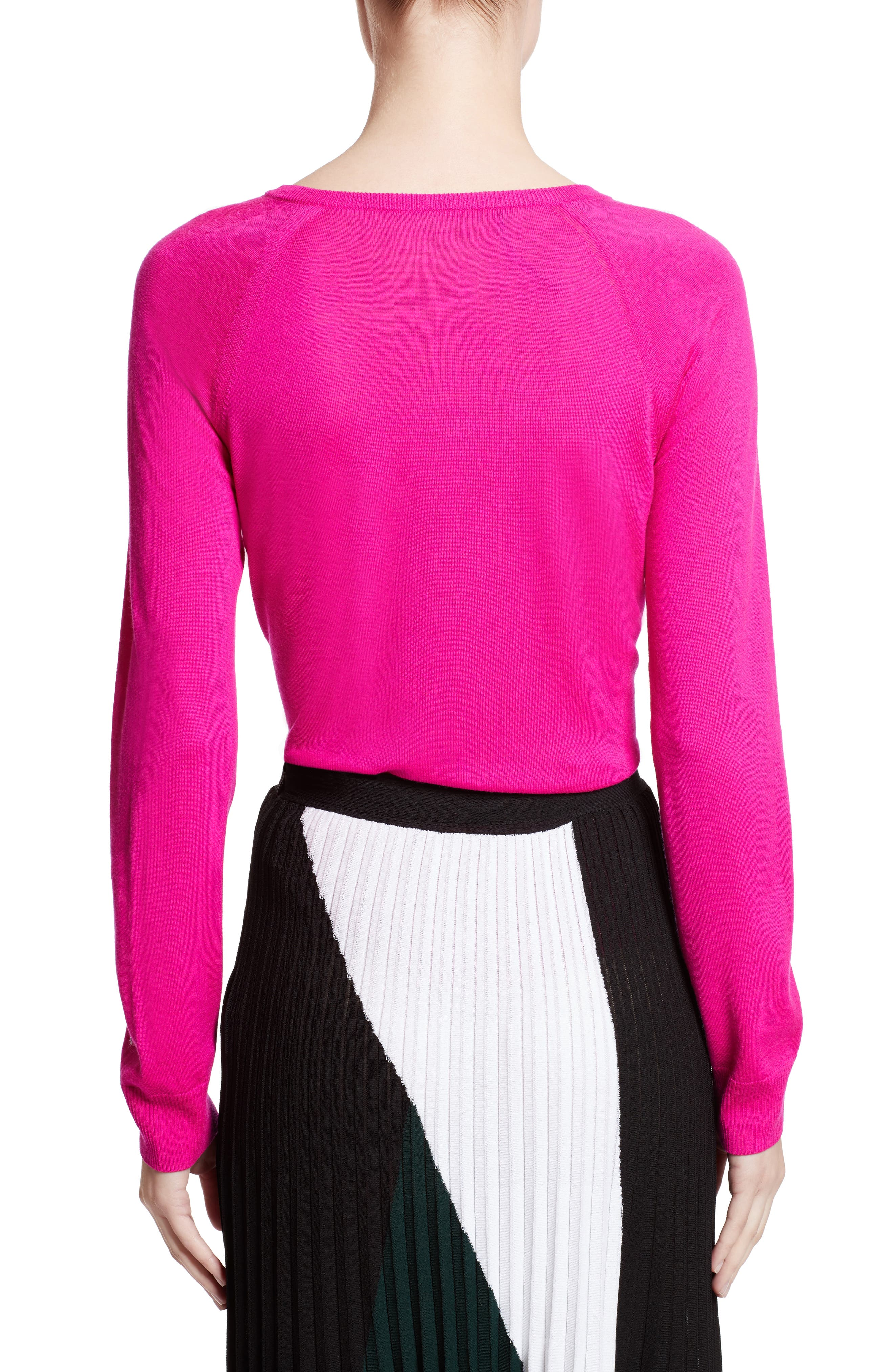 Plunging V-Neck Merino Wool Sweater,                             Alternate thumbnail 2, color,                             Electric Pink