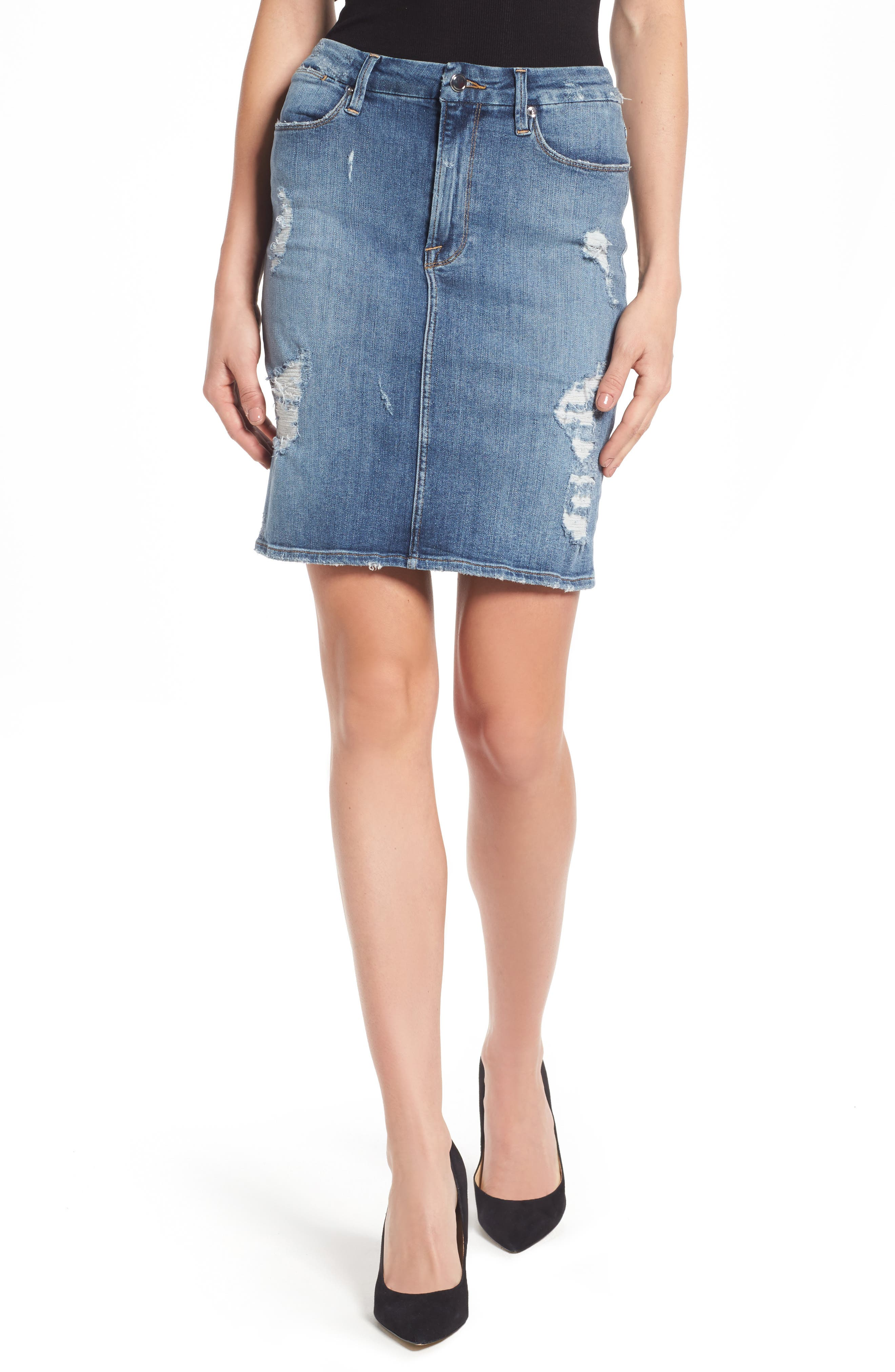 Good American High Waist Denim Pencil Skirt (Blue 083) (Extended Sizes)