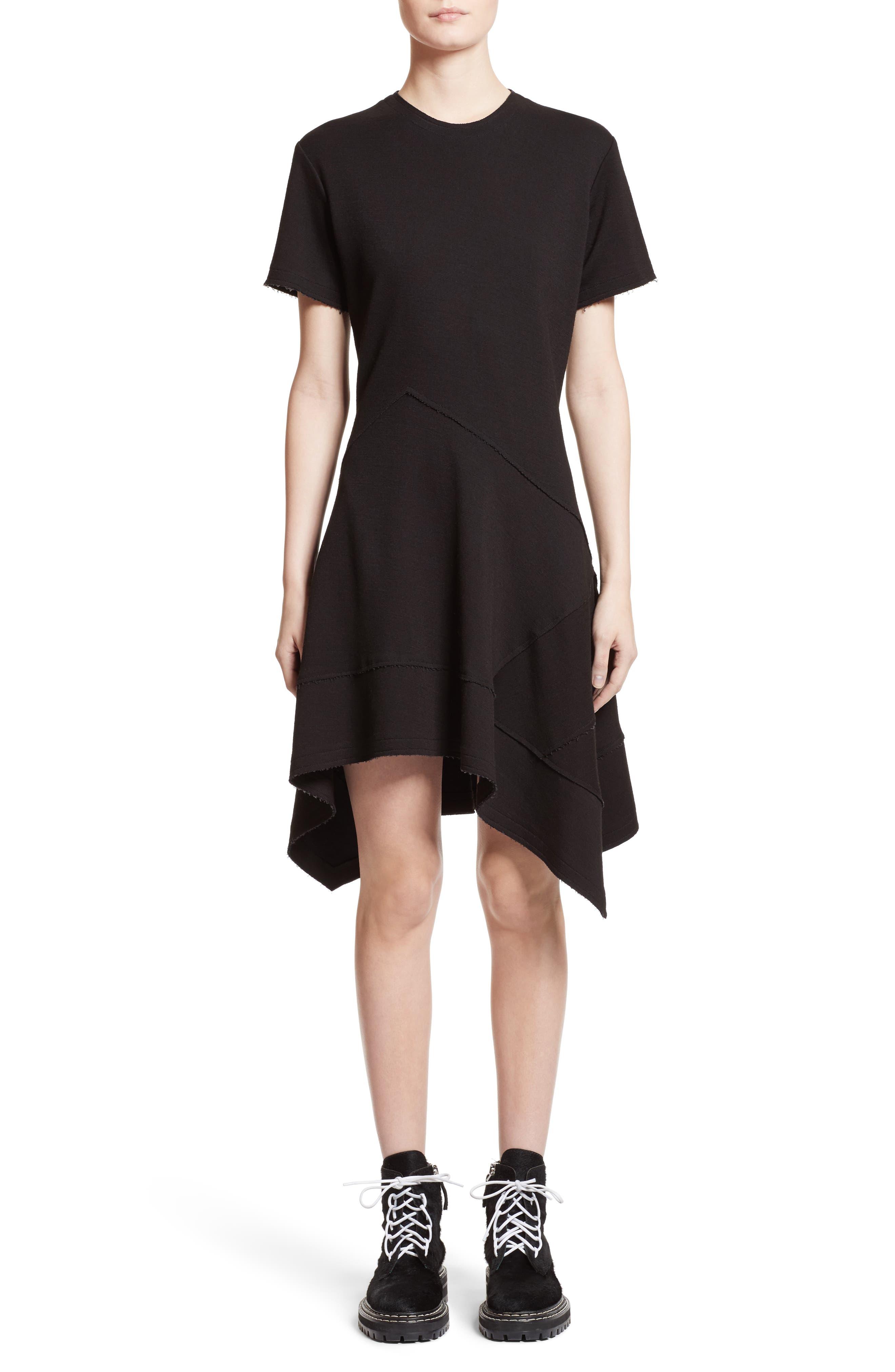 Asymmetrical Fit & Flare Dress,                         Main,                         color, Black