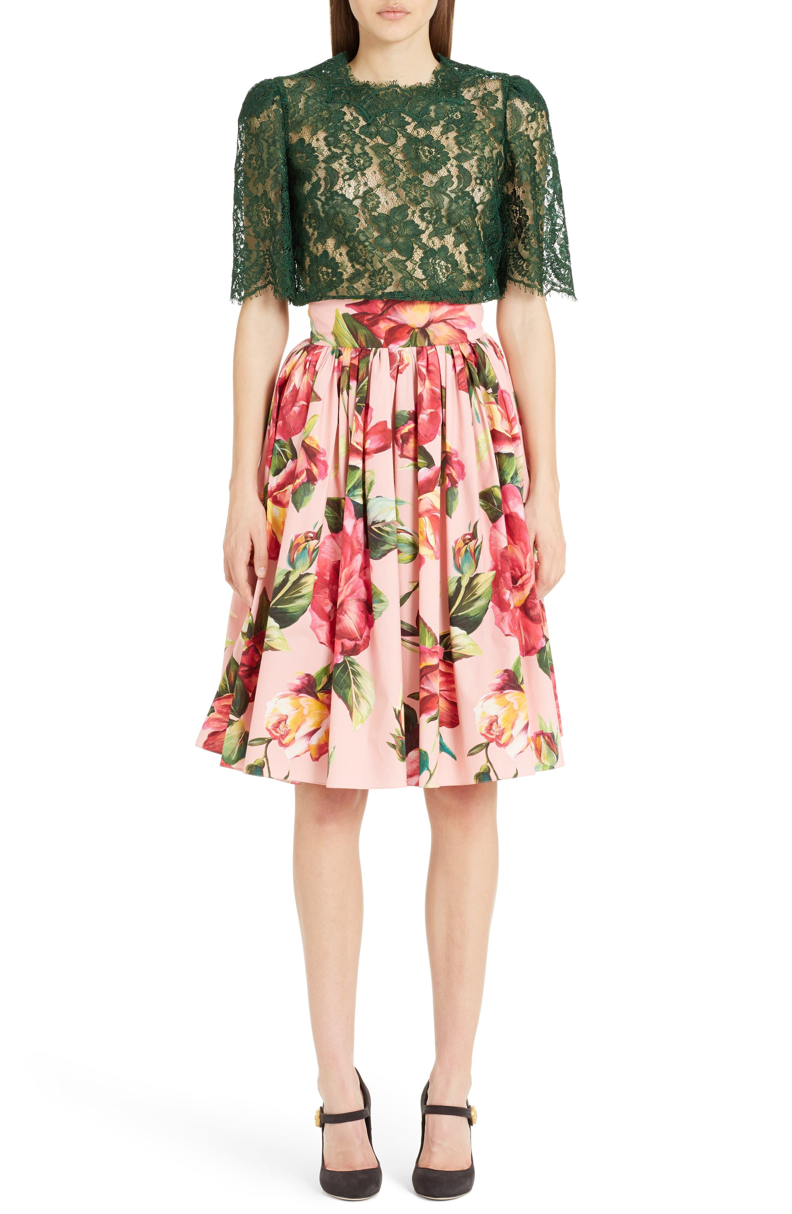 Alternate Image 6  - Dolce&Gabbana Rose Print Poplin Skirt