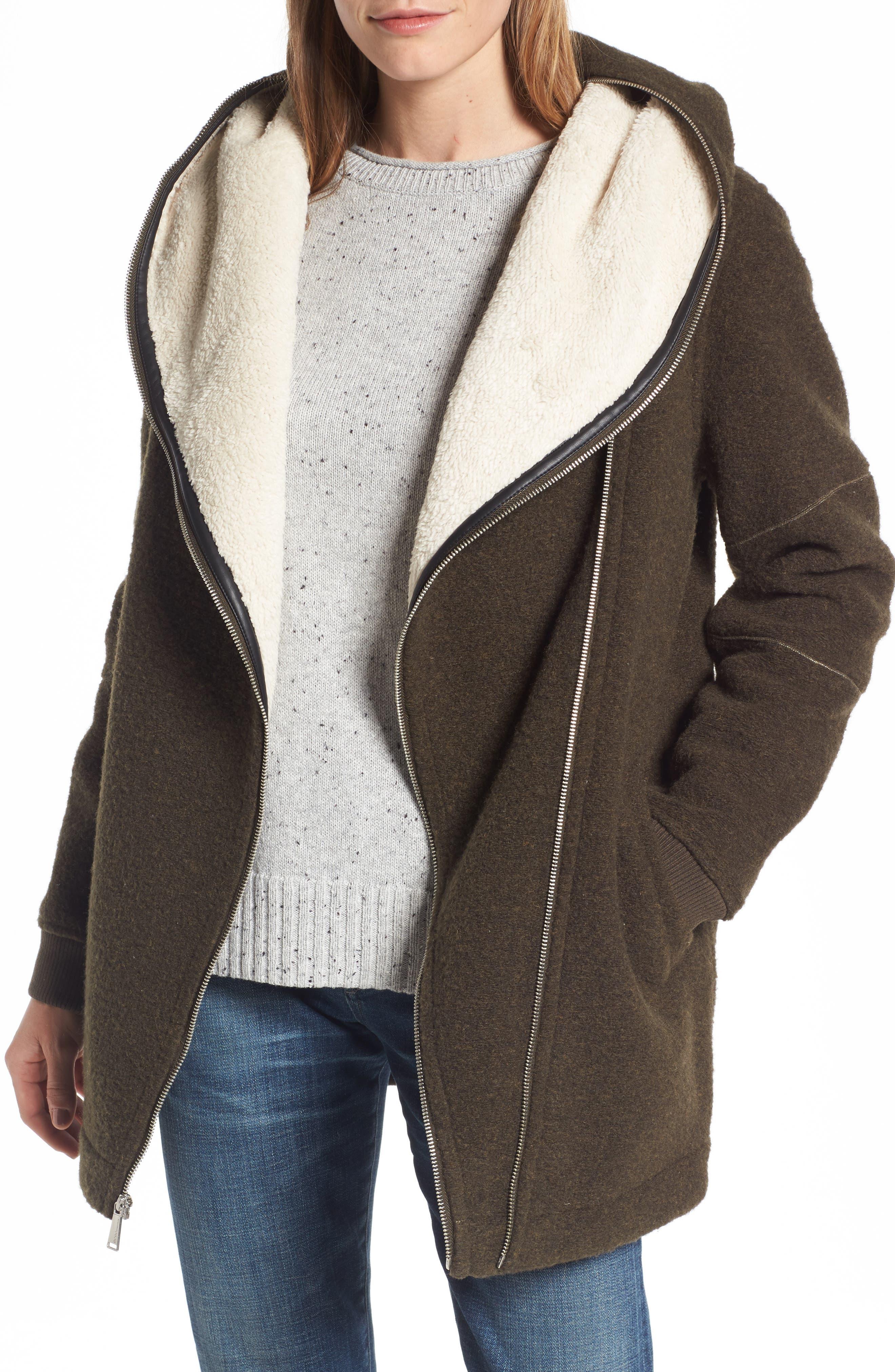 BCBGeneration Asymmetrical Hooded Wool Blend Coat