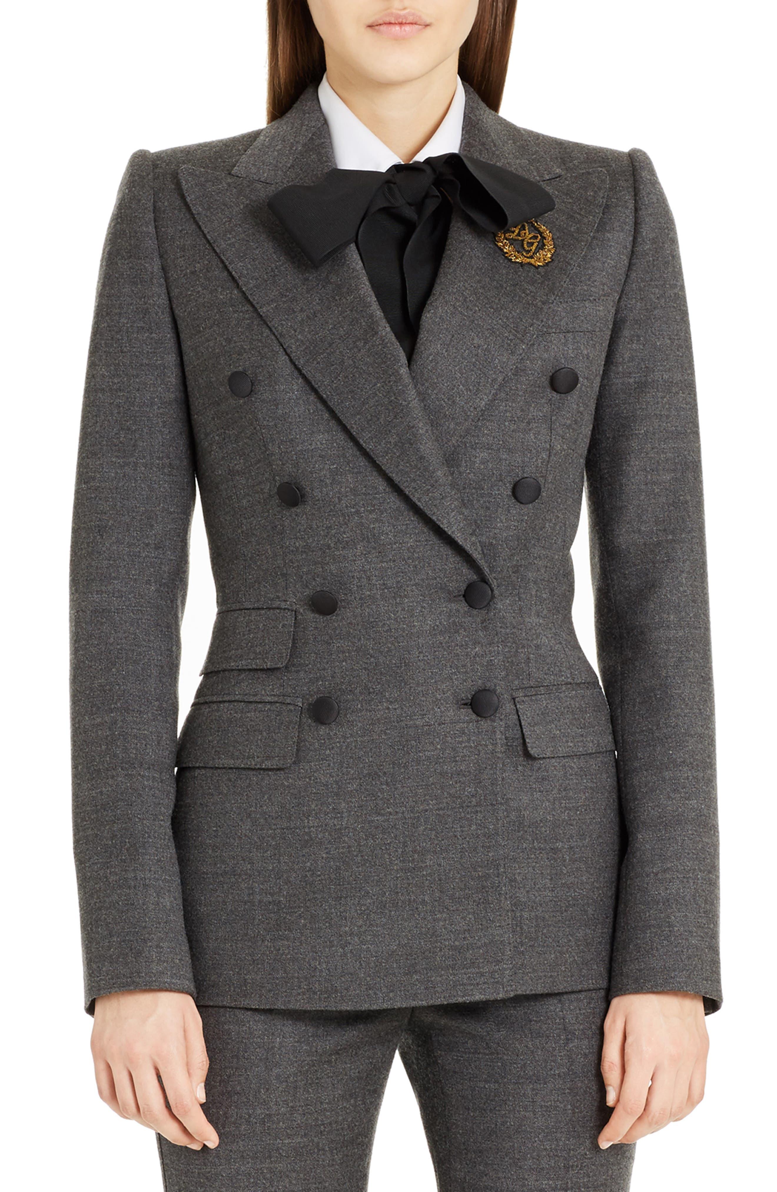 Dolce&Gabbana Crown Patch Stretch Flannet Jacket
