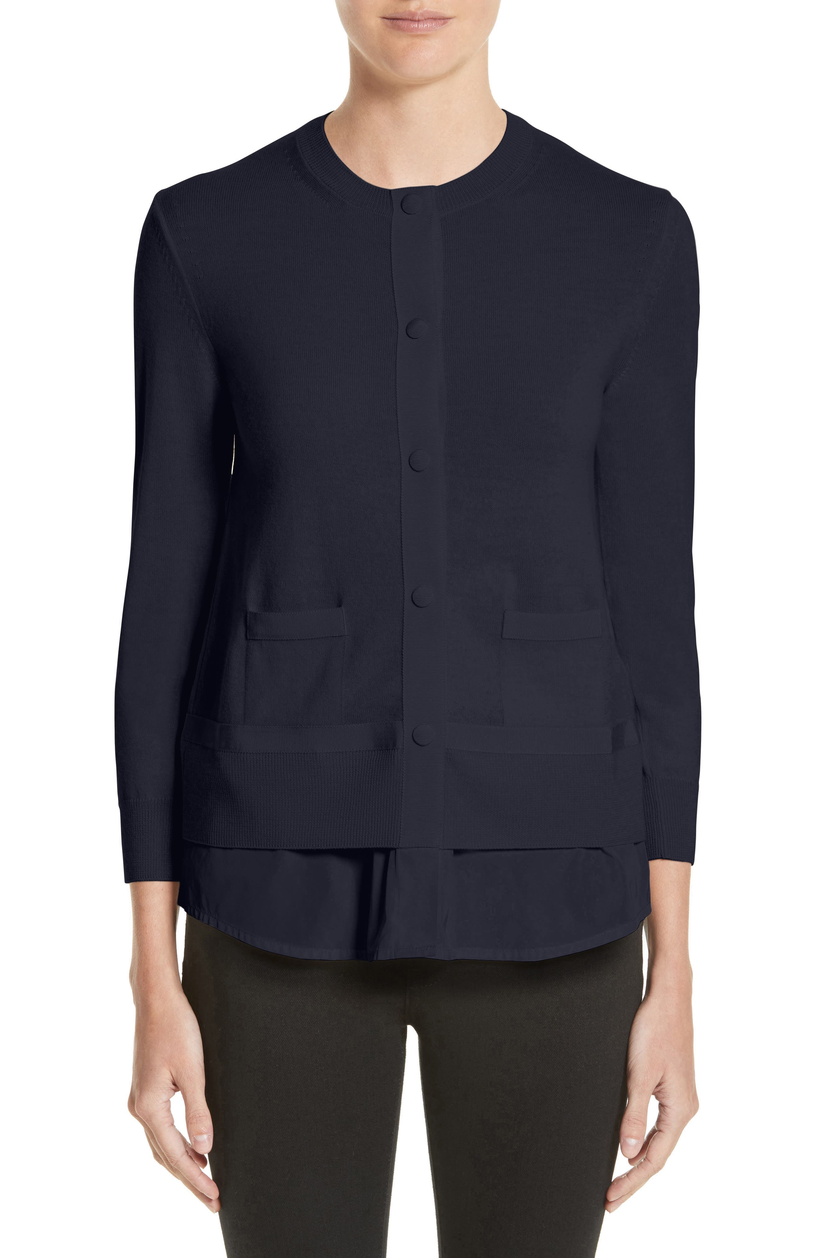 Tricot Cardigan,                         Main,                         color, Navy