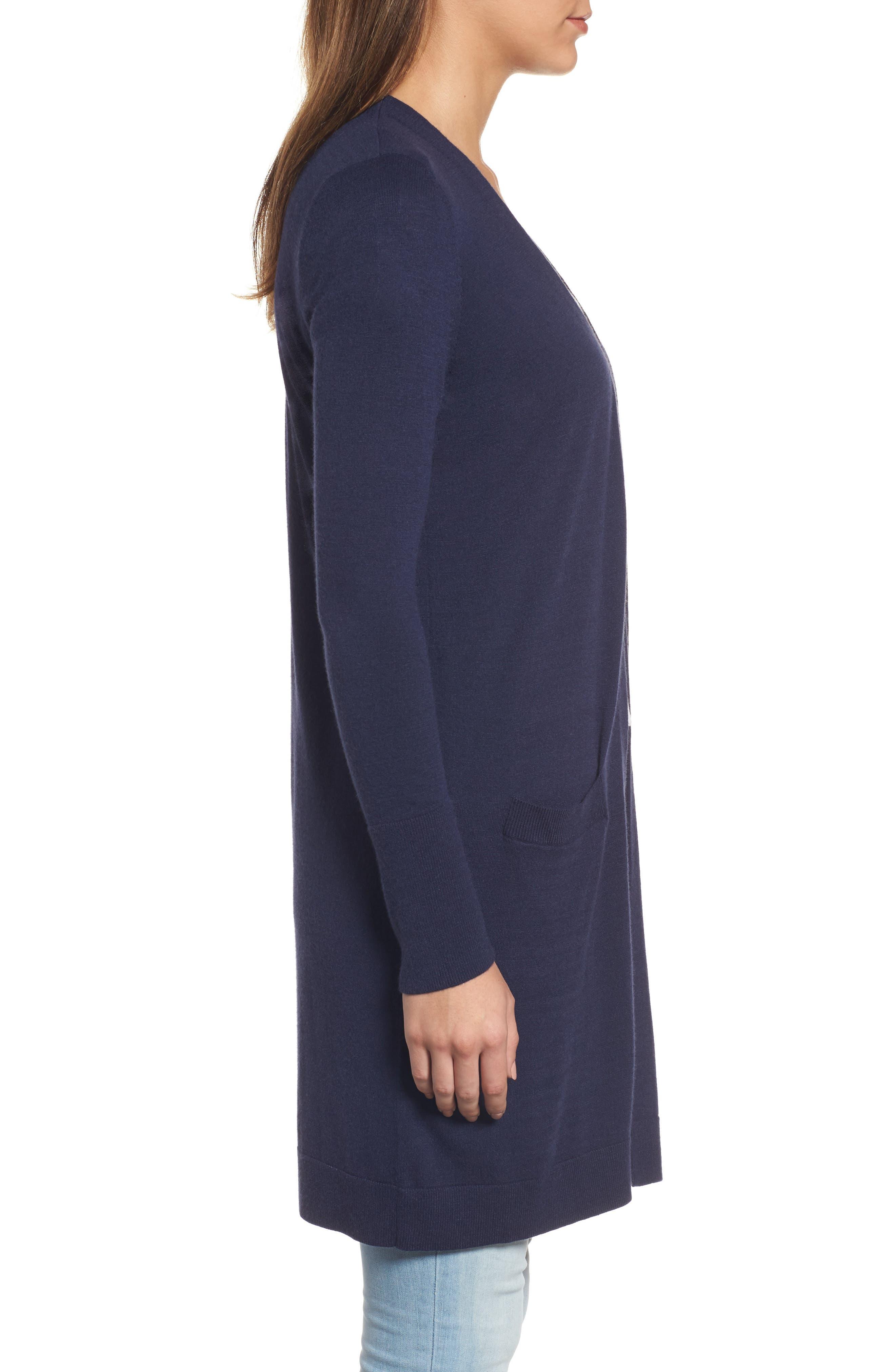 Alternate Image 3  - Halogen® Long Open Front Cardigan (Regular & Petite)