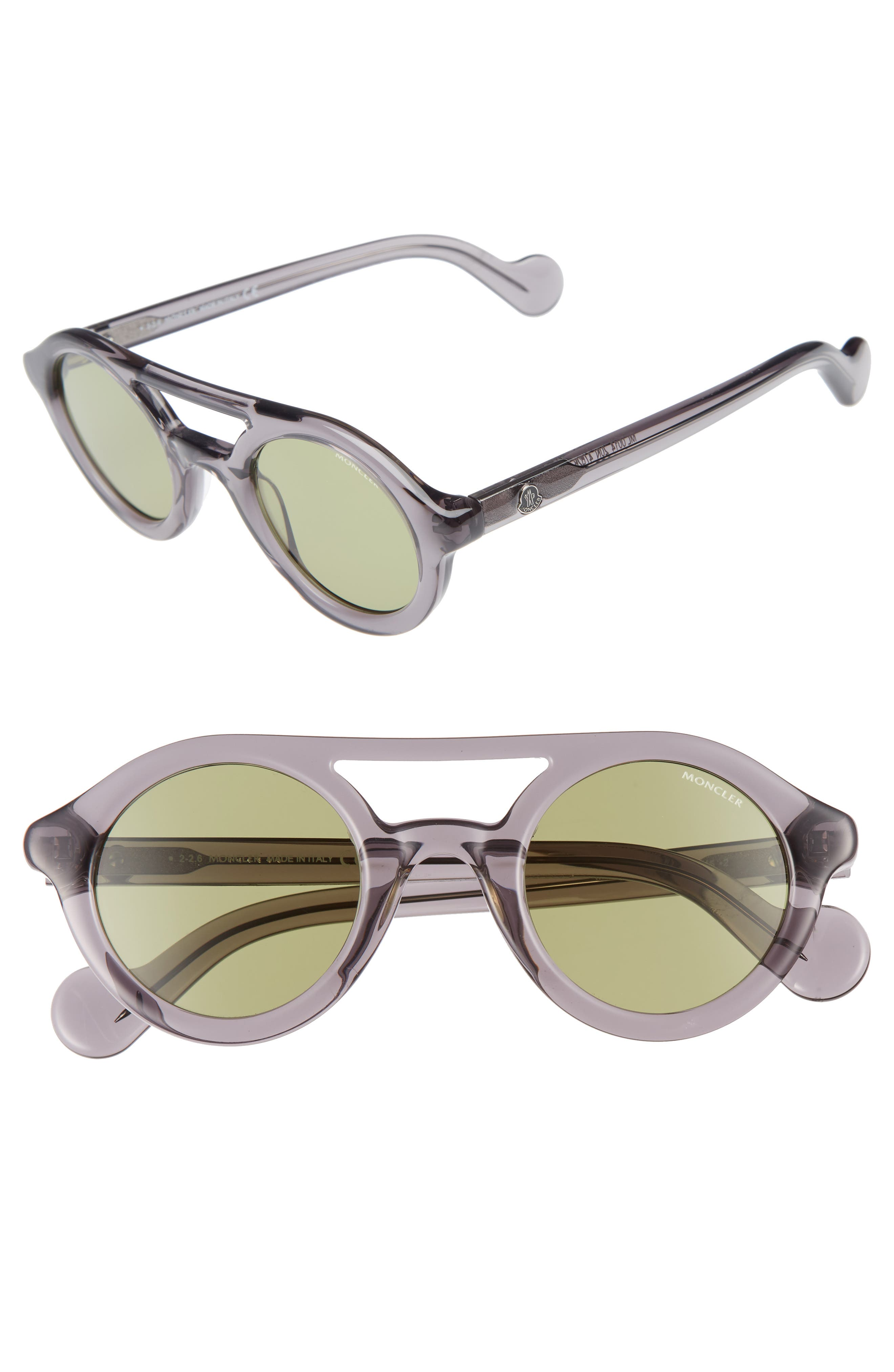 e9ef10aee77 MONCLER 47MM ROUNDED SUNGLASSES - GREY  OTHER   GREEN