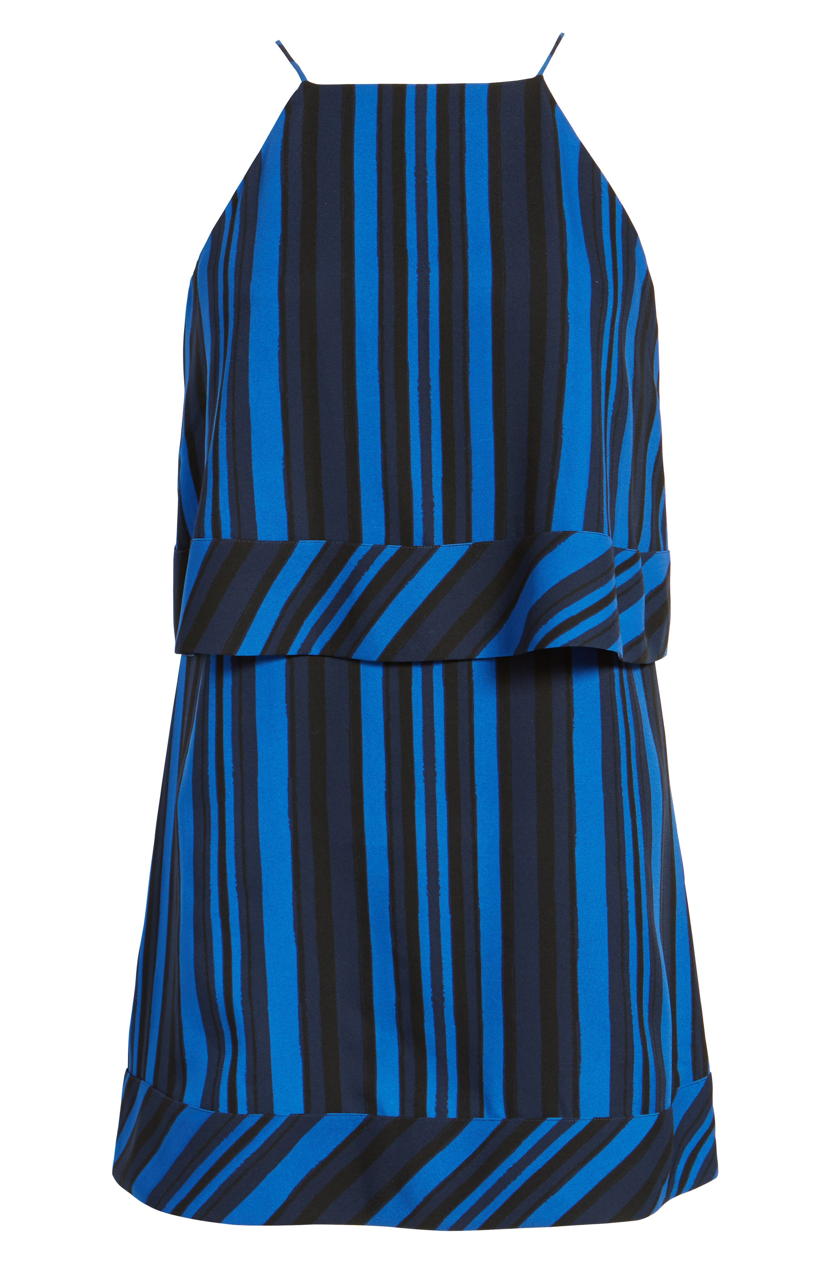 Callie Tiered Shift Dress,                             Alternate thumbnail 6, color,                             Blue Stripe Print