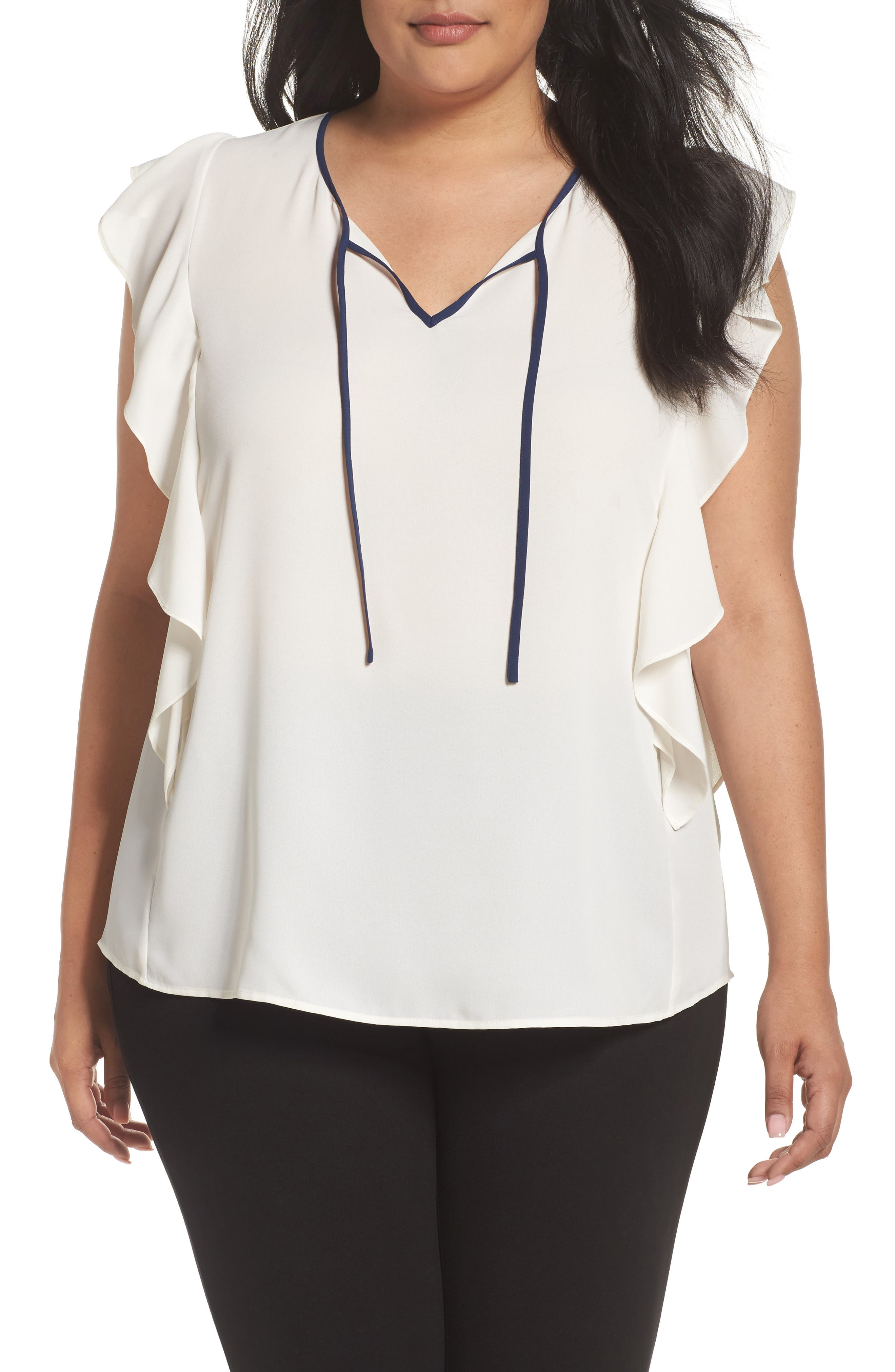 Flutter Sleeve Tie Neck Top,                             Main thumbnail 1, color,                             Ivory- Navy Color Block