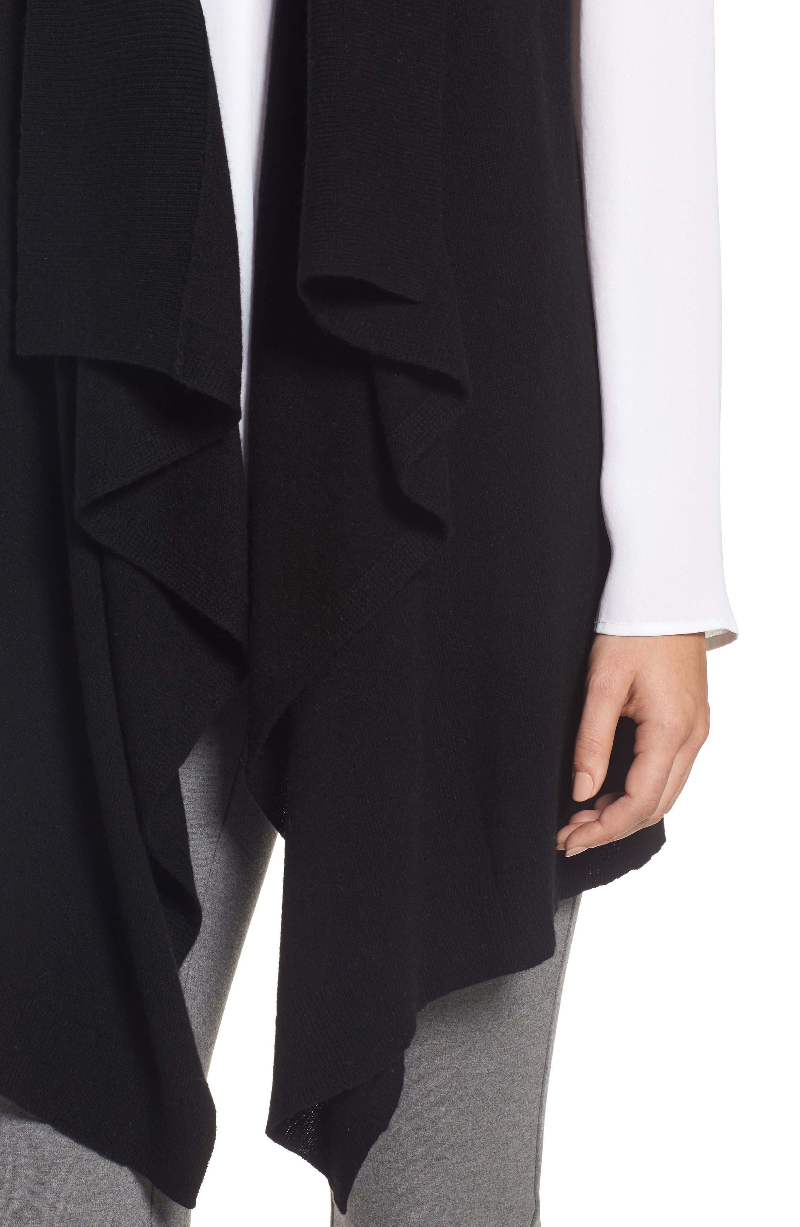 Wool & Cashmere Drape Front Sweater Vest,                             Alternate thumbnail 4, color,                             Black