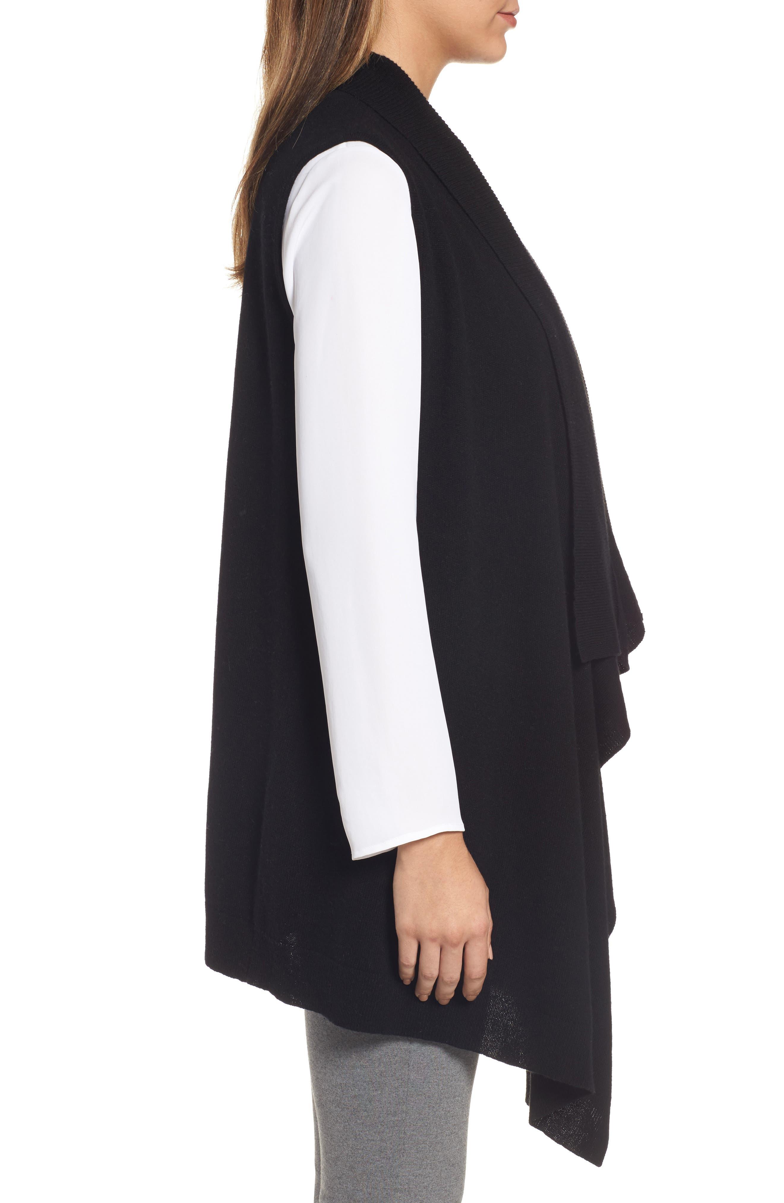 Wool & Cashmere Drape Front Sweater Vest,                             Alternate thumbnail 3, color,                             Black