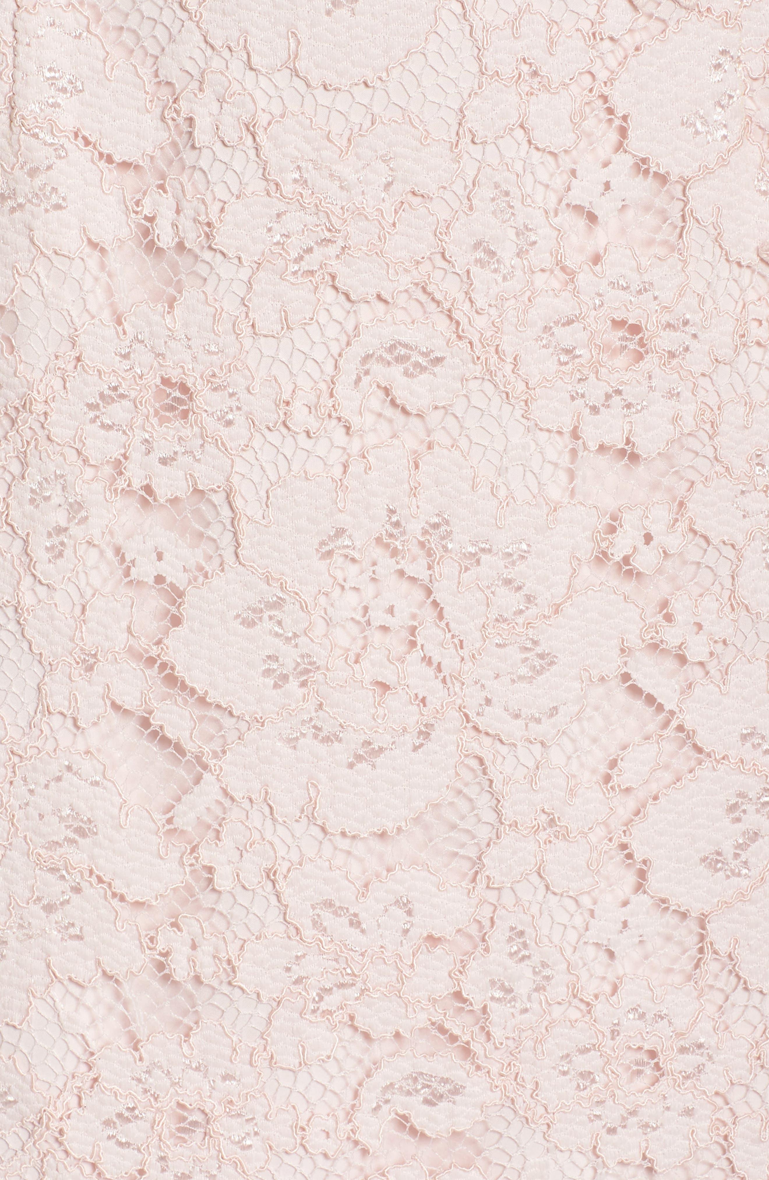Appliqué Lace Sheath Dress,                             Alternate thumbnail 5, color,                             Rose
