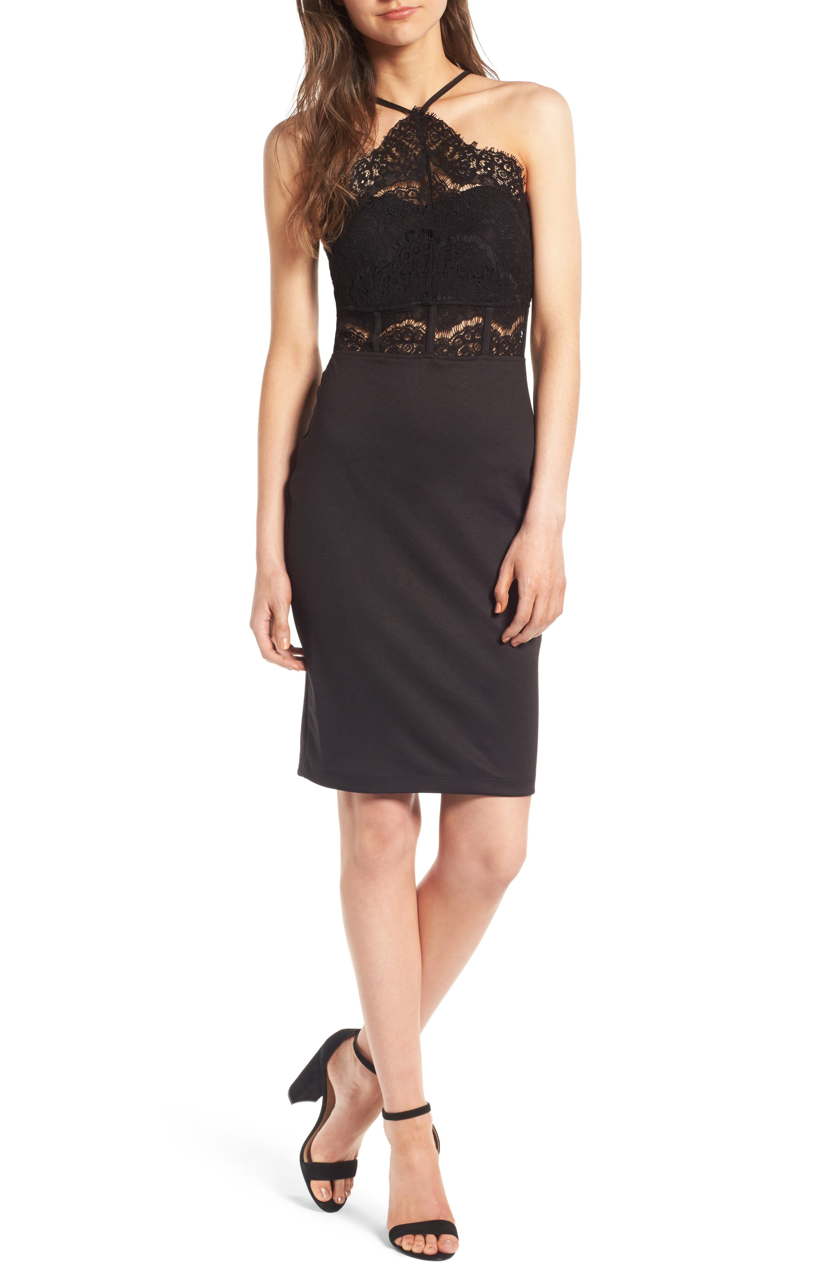 Trixxi Halter Midi Dress,                         Main,                         color, Black