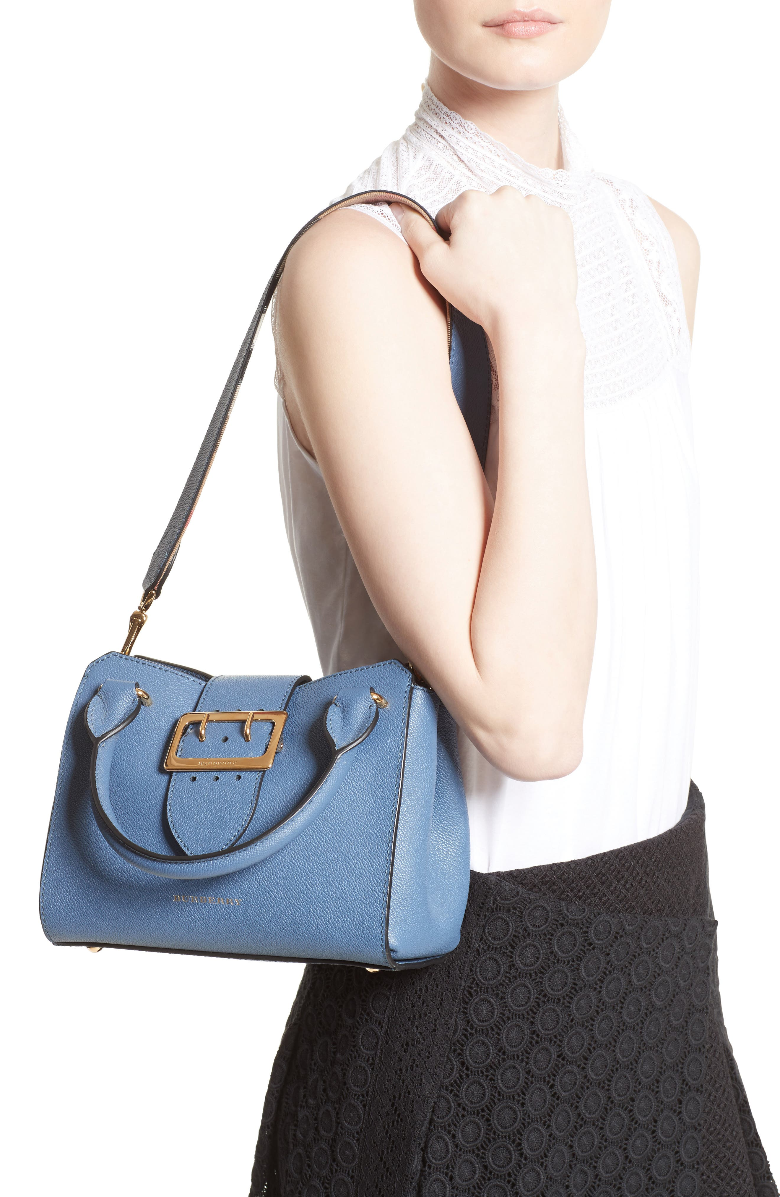 Small Buckle Leather Satchel,                             Alternate thumbnail 2, color,                             Steel Blue