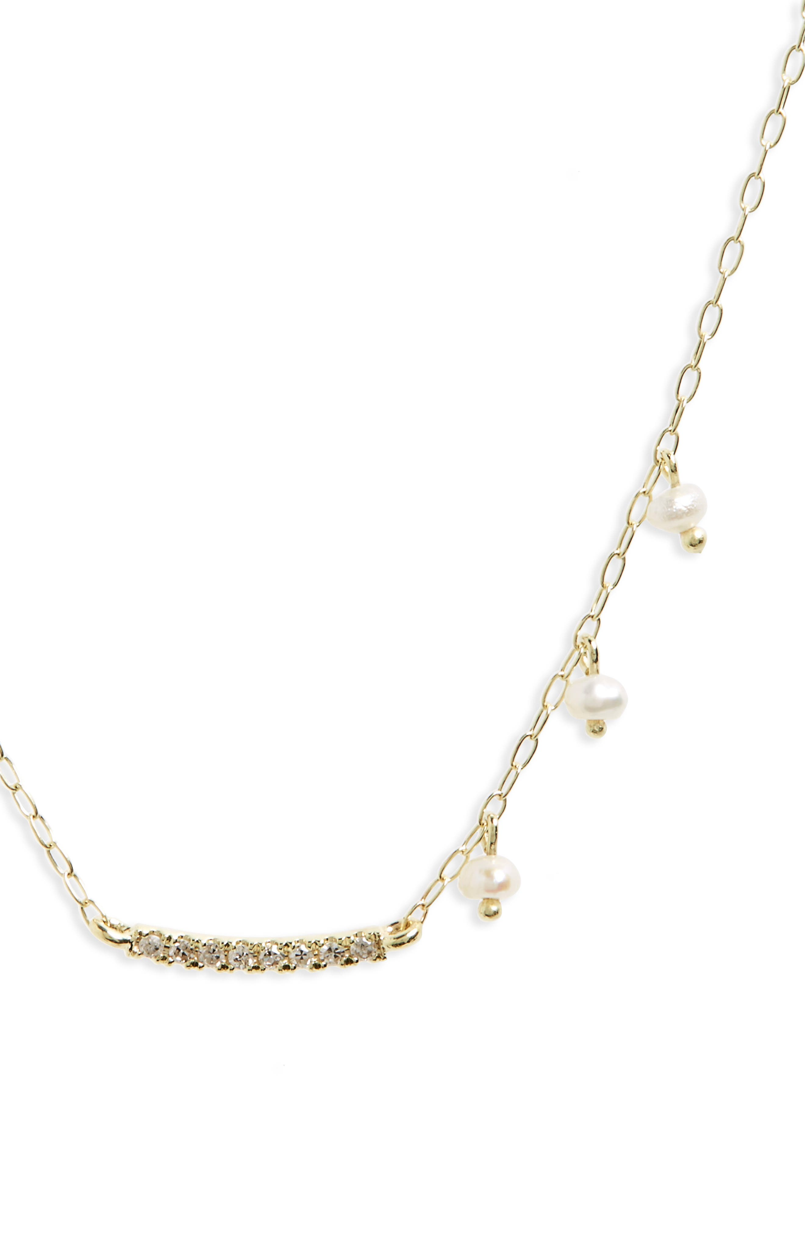 Diamond & Pearl Bar Pendant Necklace,                             Alternate thumbnail 2, color,                             Yellow Gold