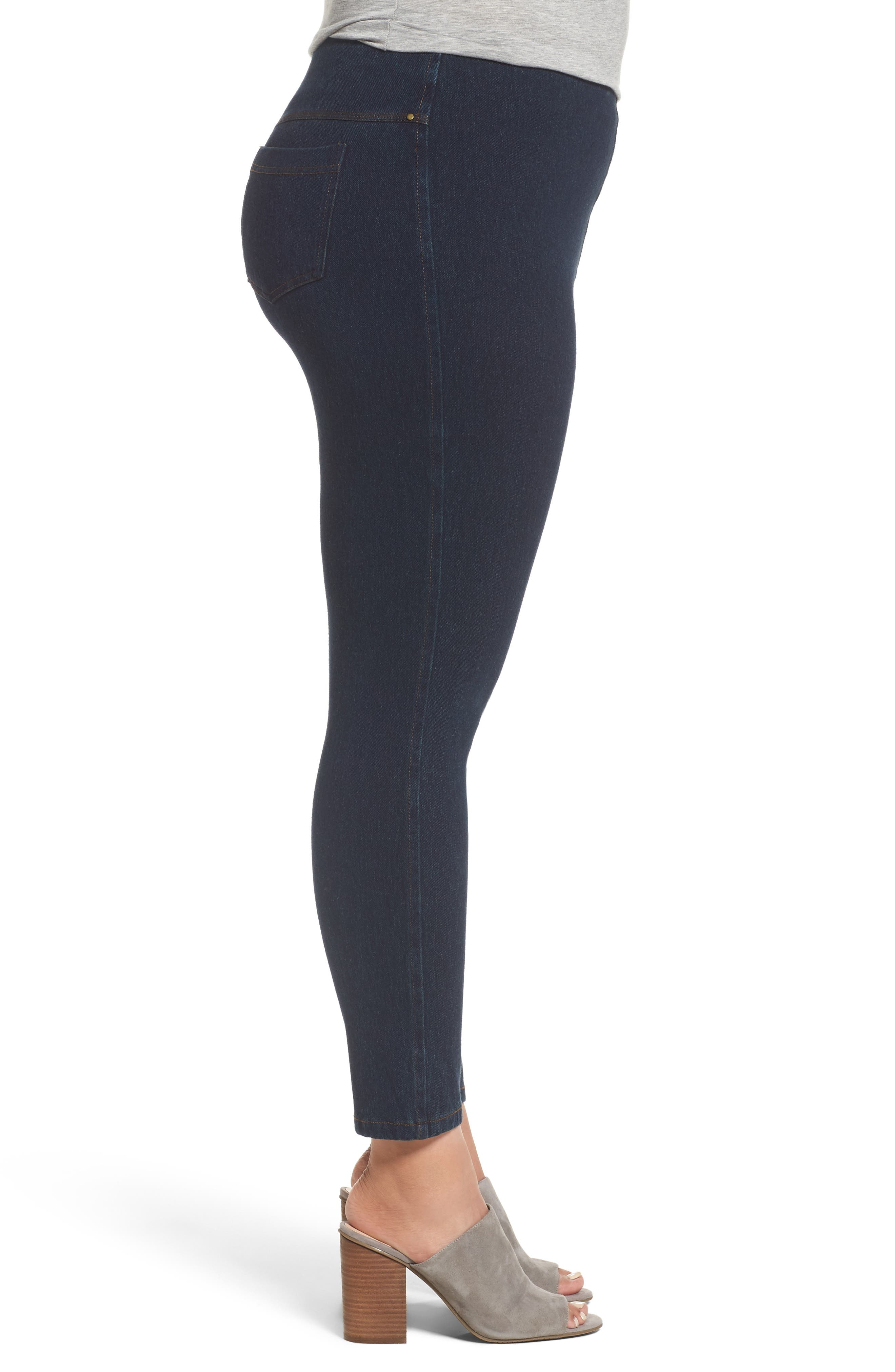 Alternate Image 3  - Lyssè Toothpick Denim Leggings (Plus Size)