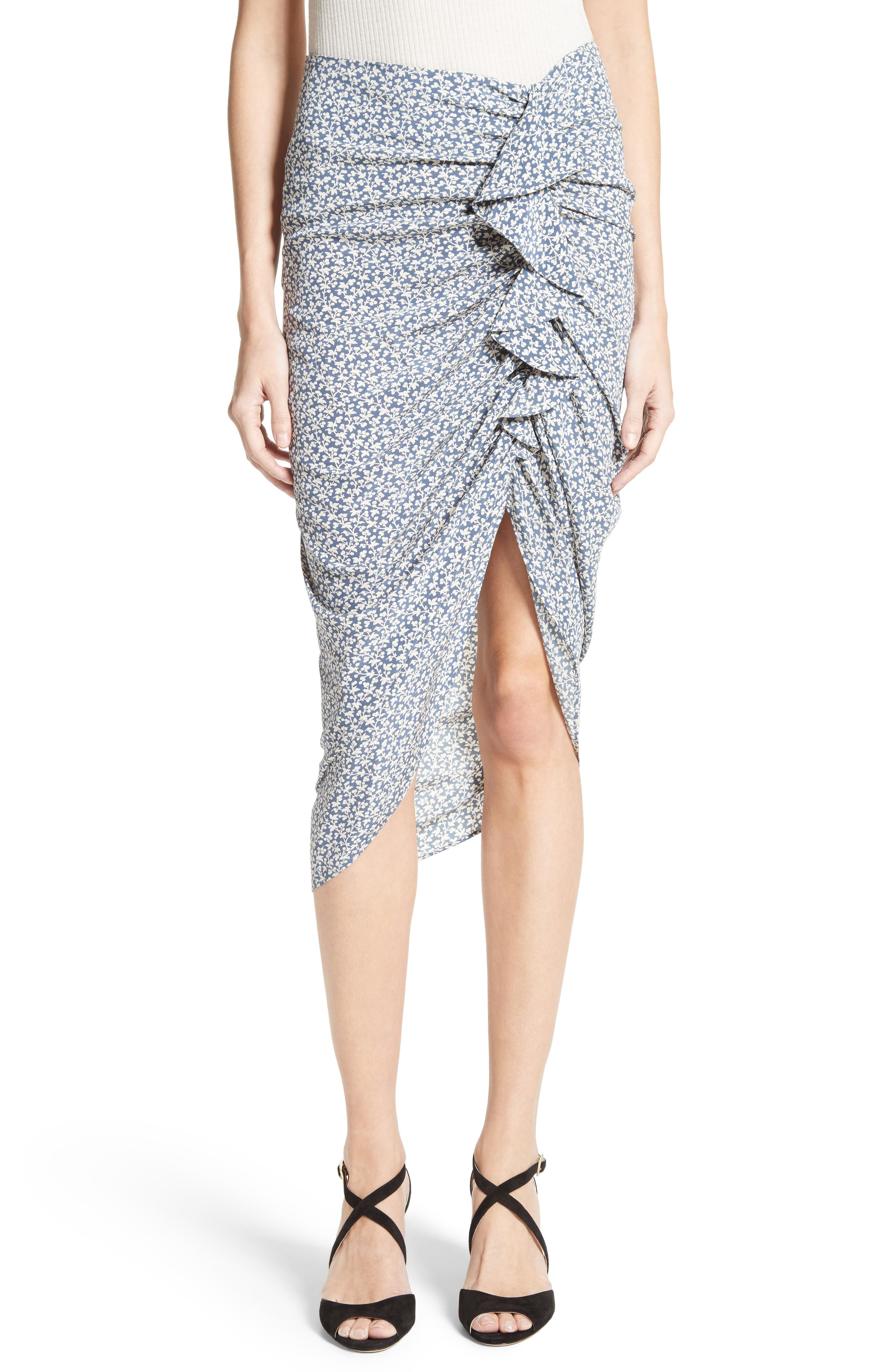 VERONICA BEARD Hazel Ruffle Ruched Silk Skirt