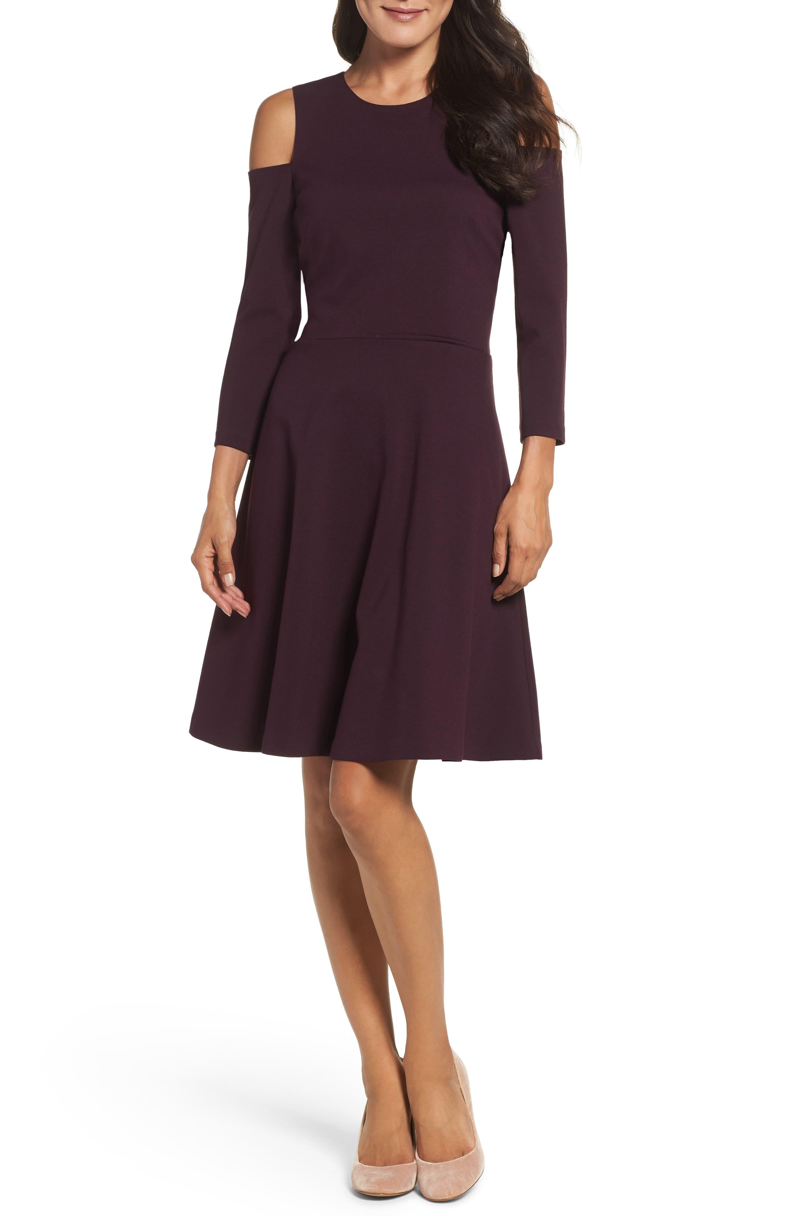 Alternate Image 1 Selected - Eliza J Cold Shoulder Fit & Flare Dress (Regular & Petite)