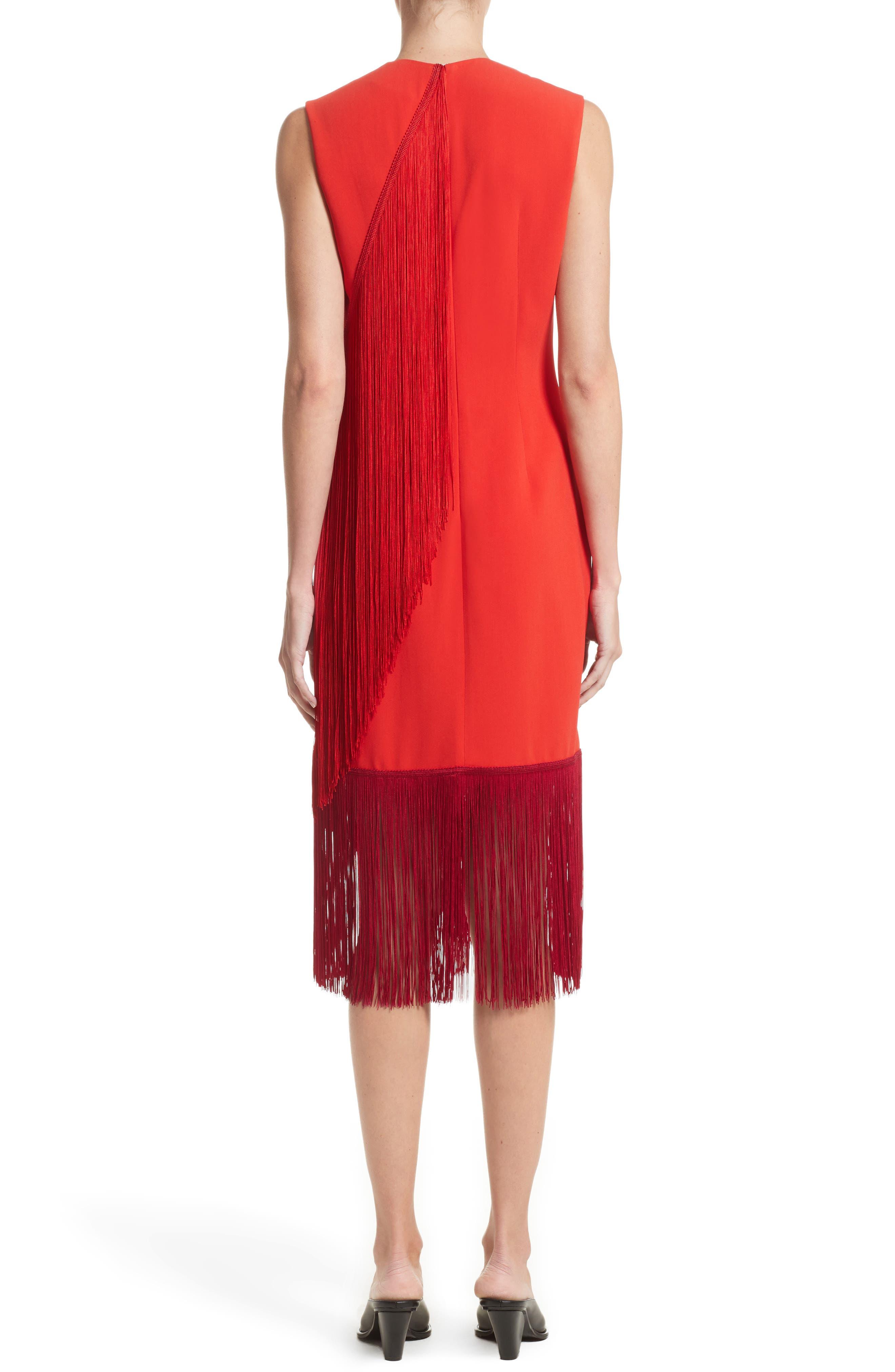 Fringe Overlay Dress,                             Alternate thumbnail 2, color,                             Lipstick