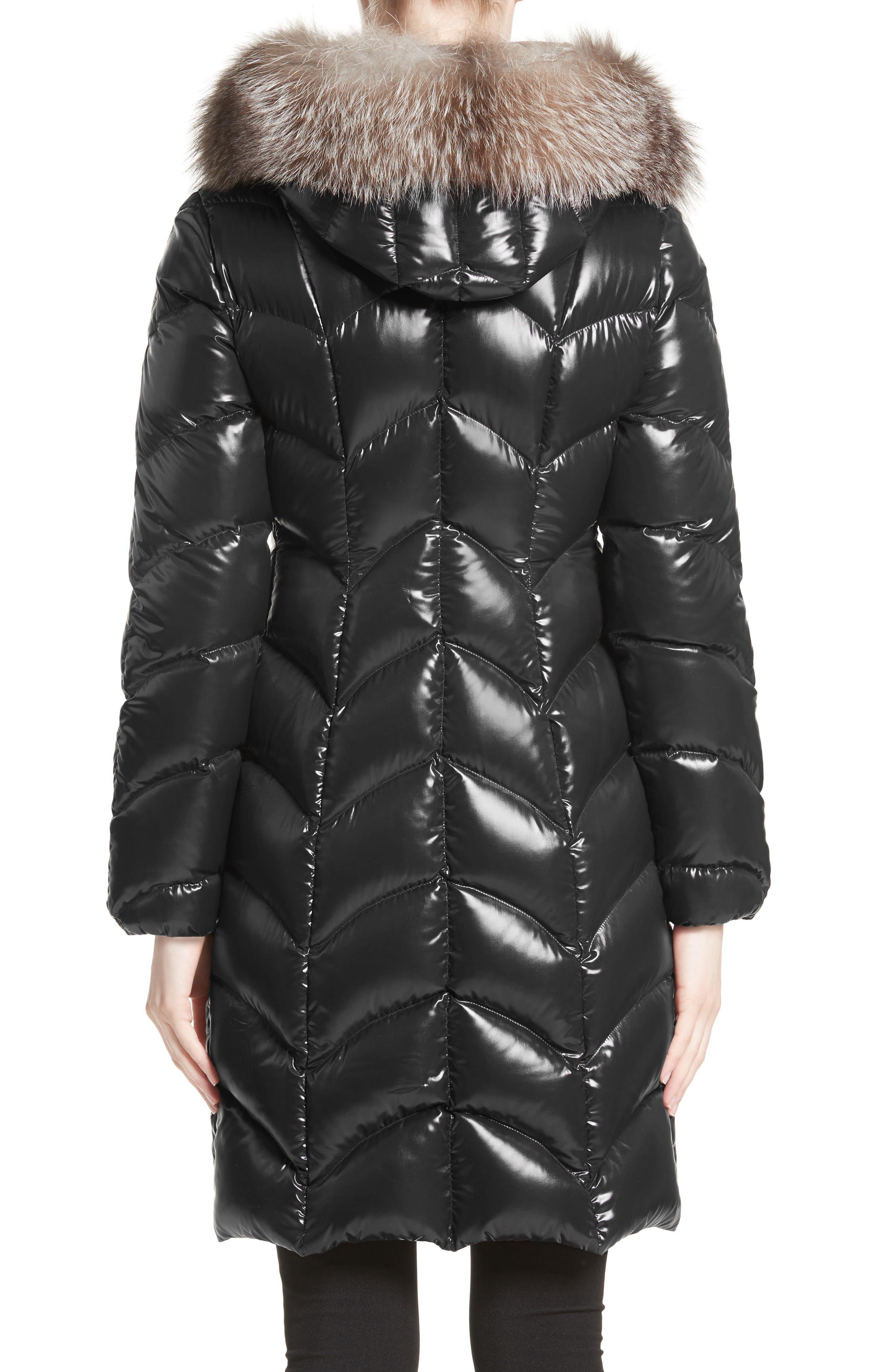 Alternate Image 2  - Moncler Albizia Down Puffer Coat with Genuine Fox Fur Trim