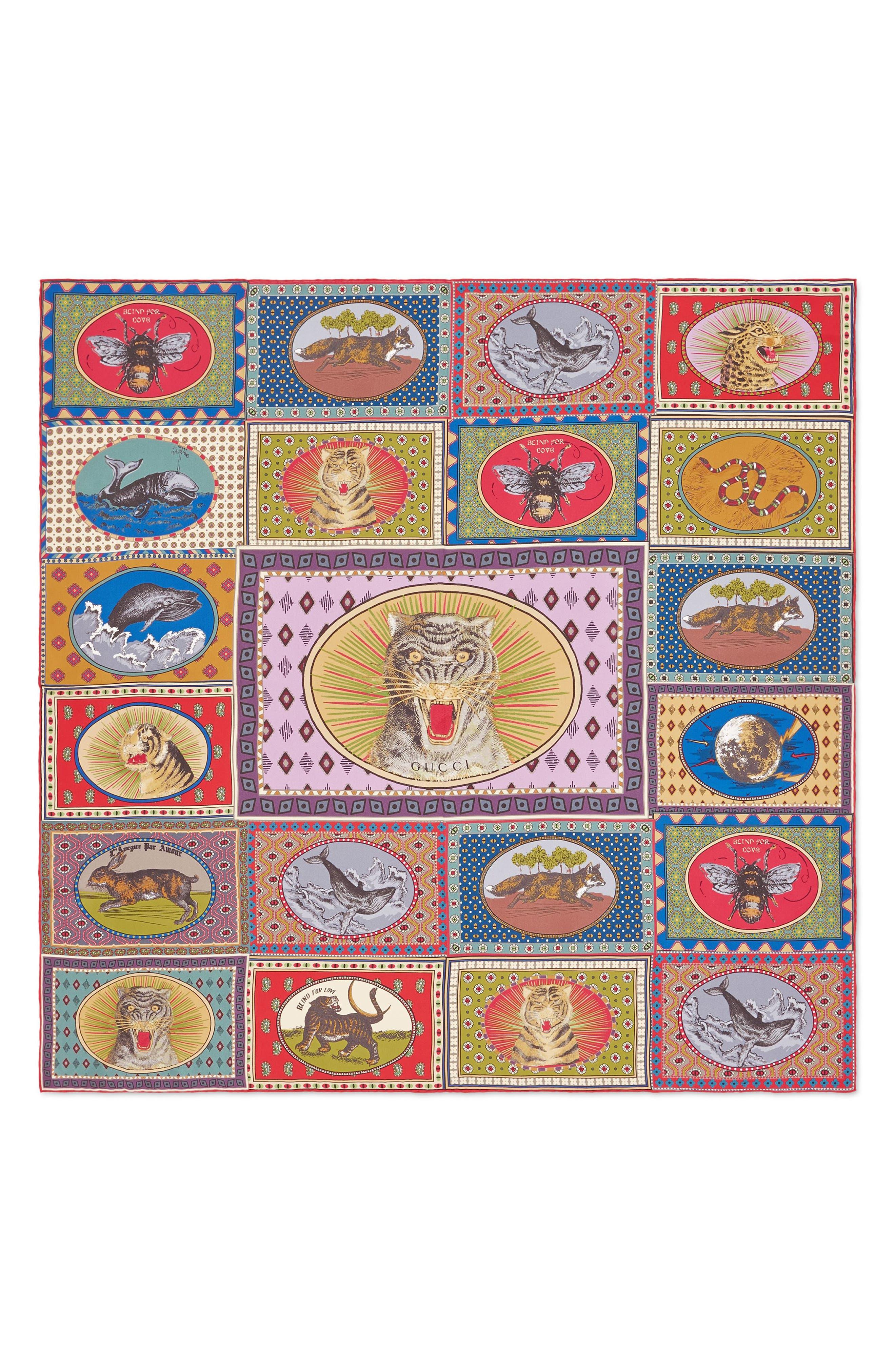 GUCCI Tiger Cards Square Silk Scarf