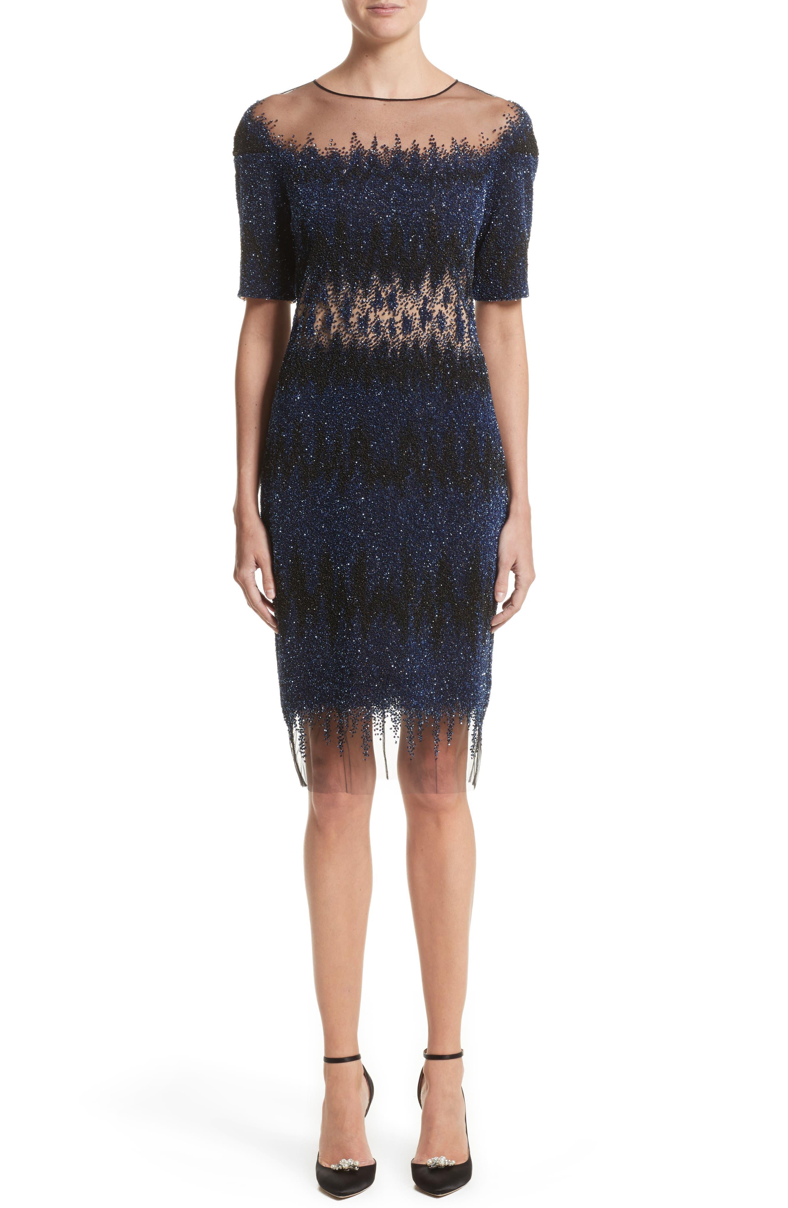 Pamella Roland Flame Stitch Sequin Cocktail Dress