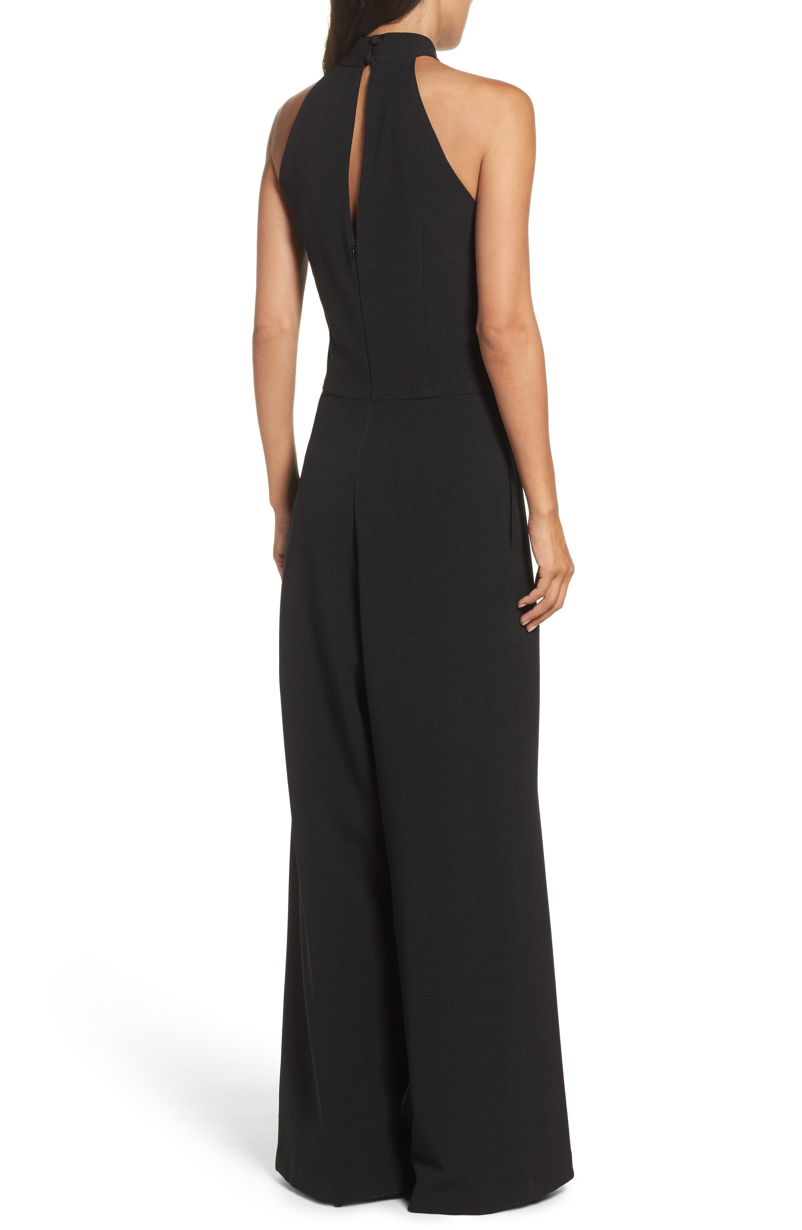 Halter Neck Jumpsuit,                             Alternate thumbnail 2, color,                             Black