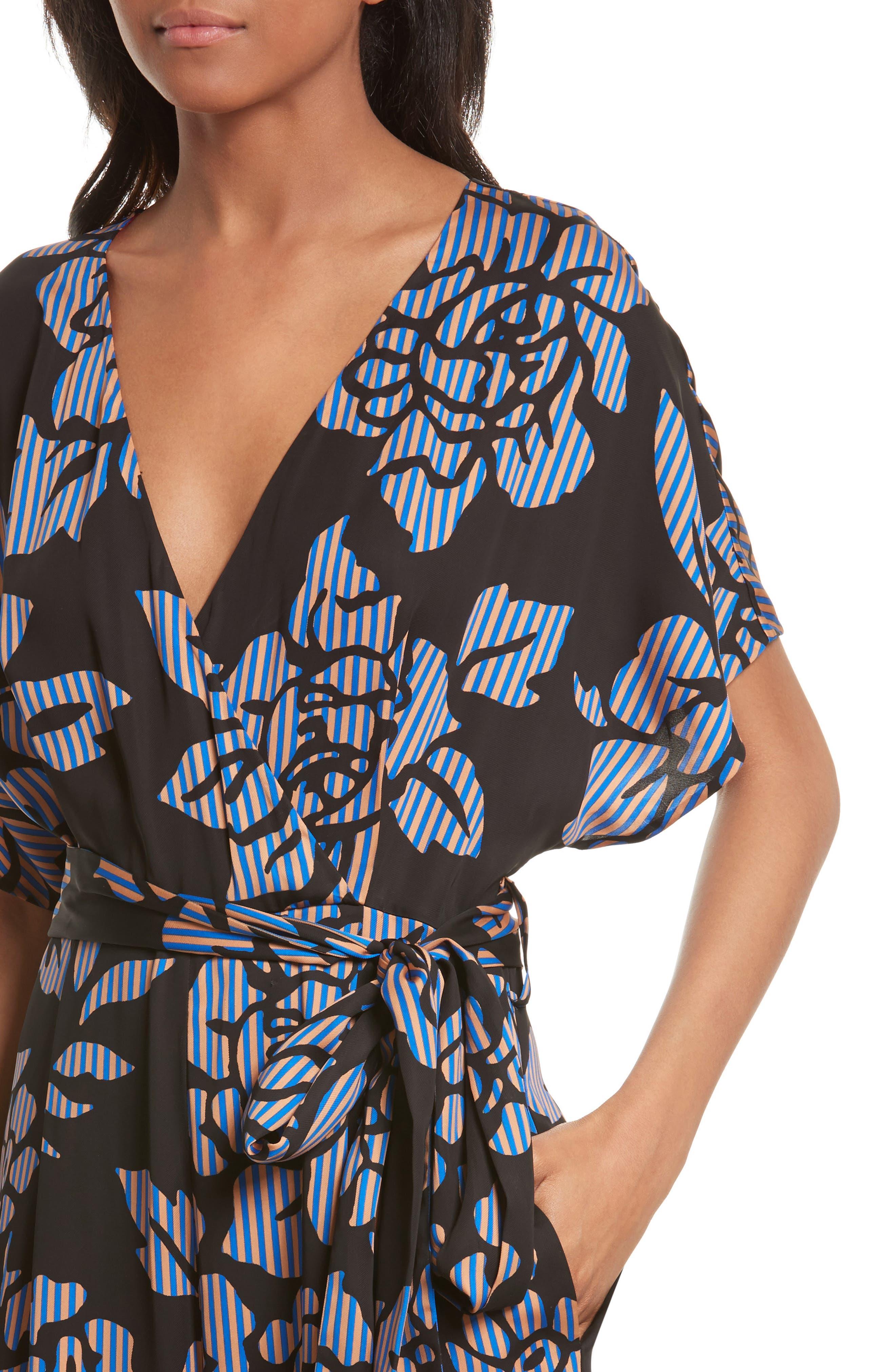 Alternate Image 4  - Diane von Furstenberg Tie Front Print Jumpsuit