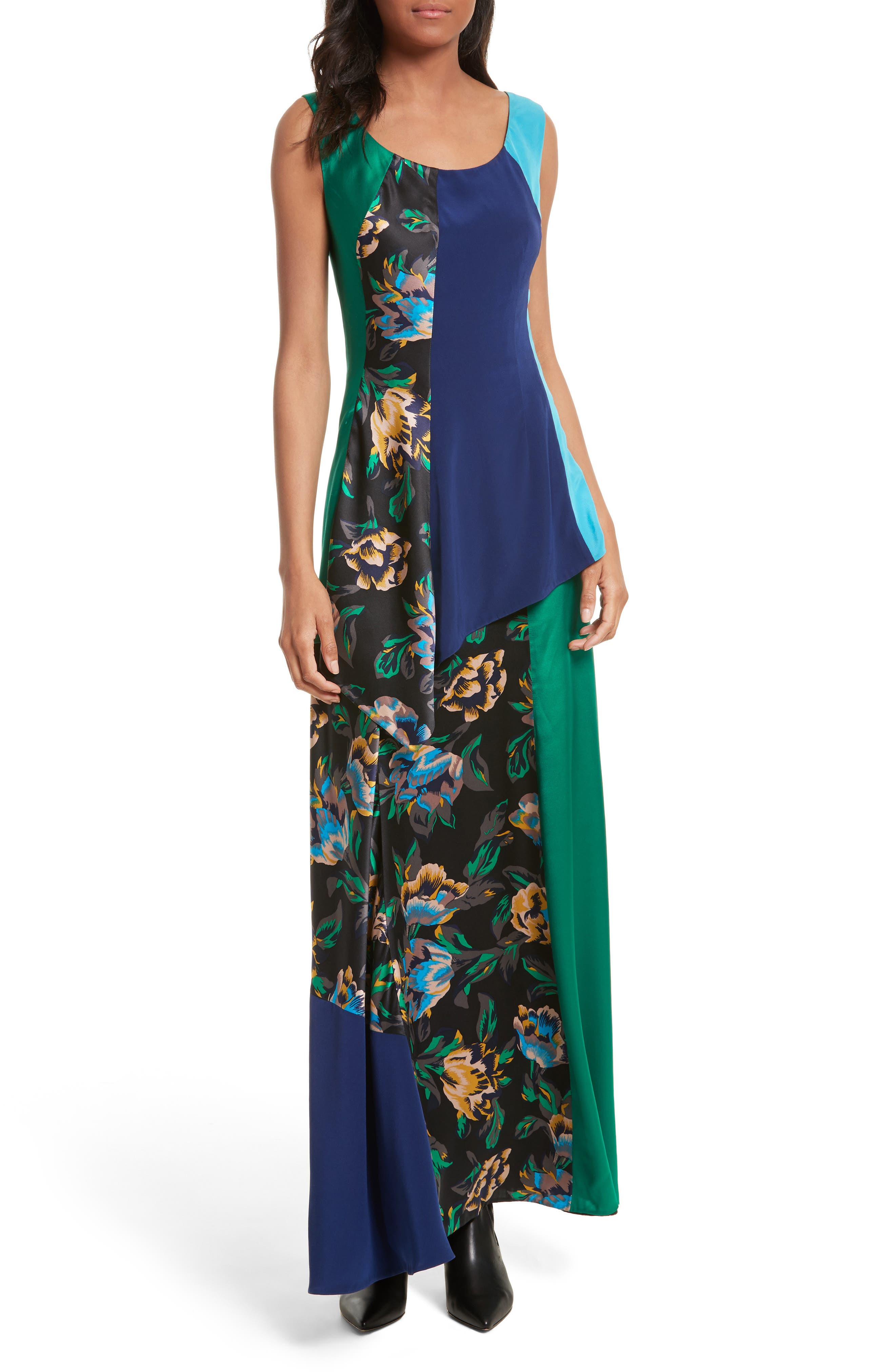 Double Layer Silk Maxi Dress,                         Main,                         color, Benton Blue/ Evergreen