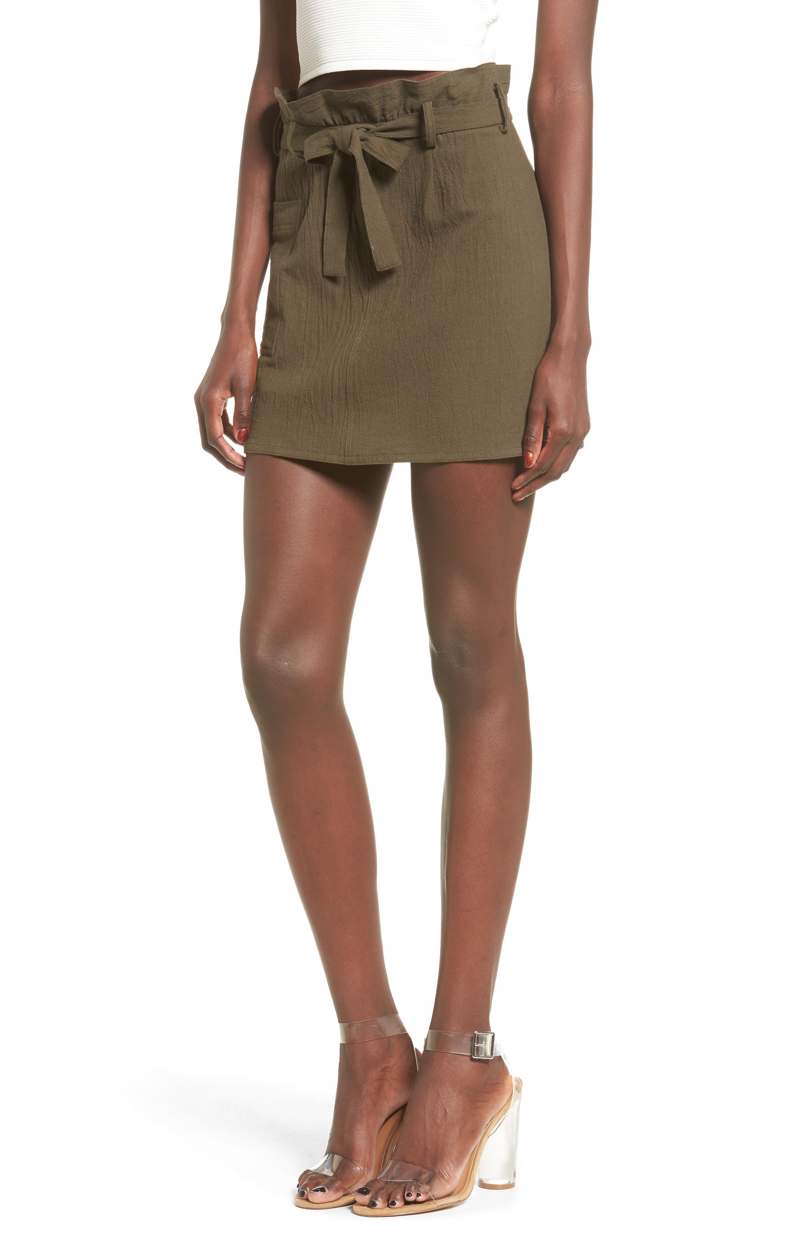 Paperbag Miniskirt,                             Main thumbnail 1, color,                             Olive Sarma