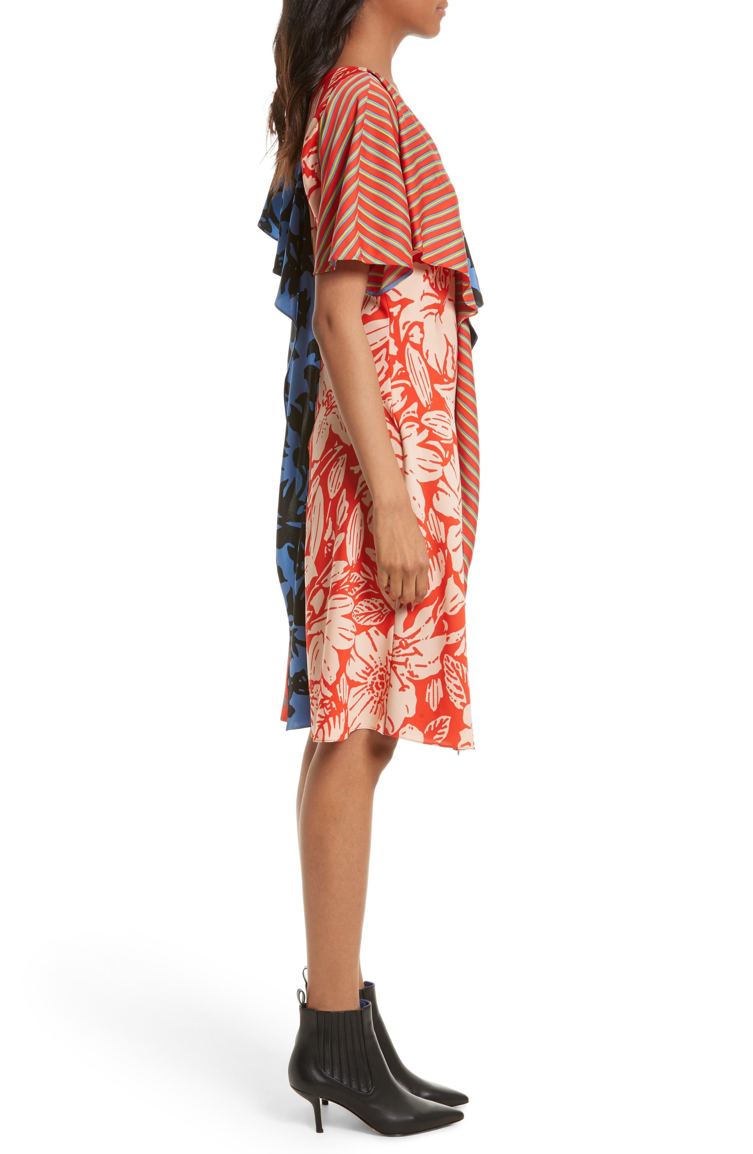 Alternate Image 3  - Diane von Furstenberg Mix Print Silk Ruffle Dress