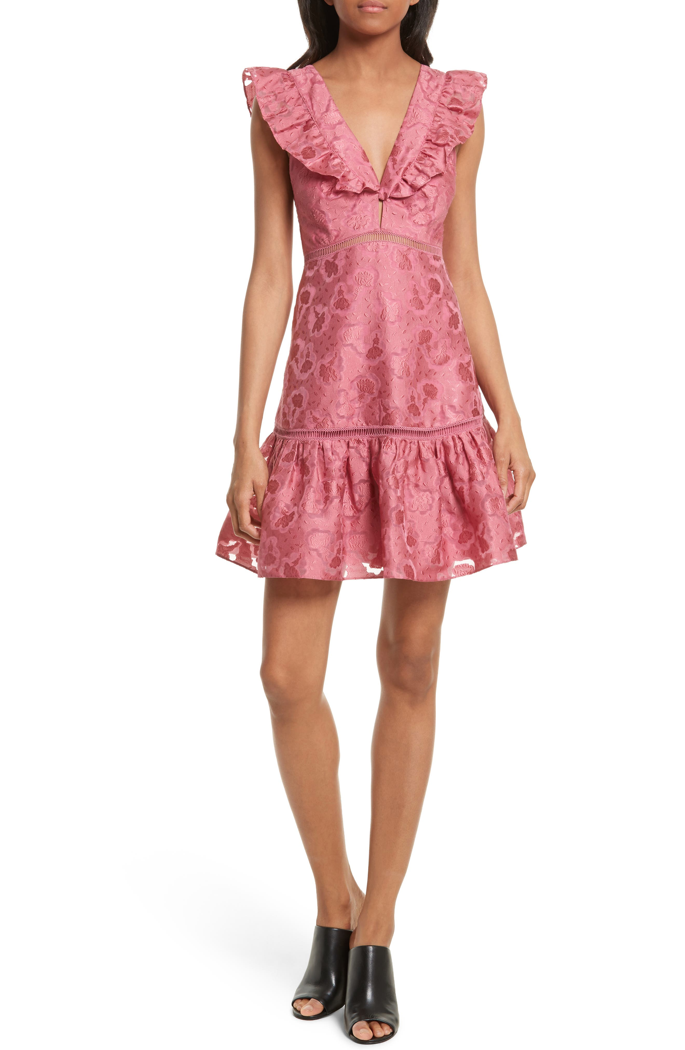 Aly Floral Jacquard Dress,                             Main thumbnail 1, color,                             Bloom