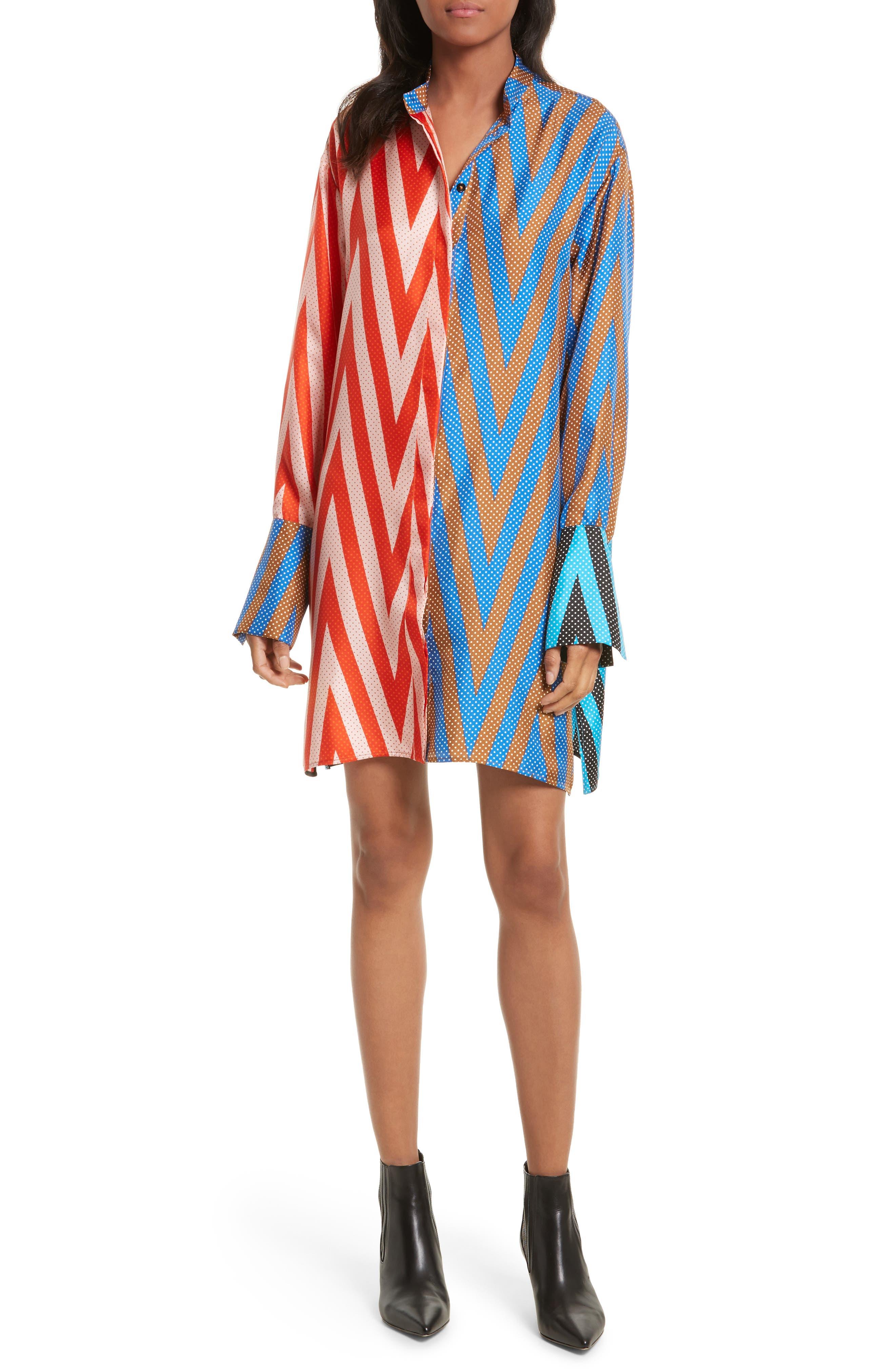 Bell Sleeve Silk Shirtdress,                             Main thumbnail 1, color,                             Odeon Chevron