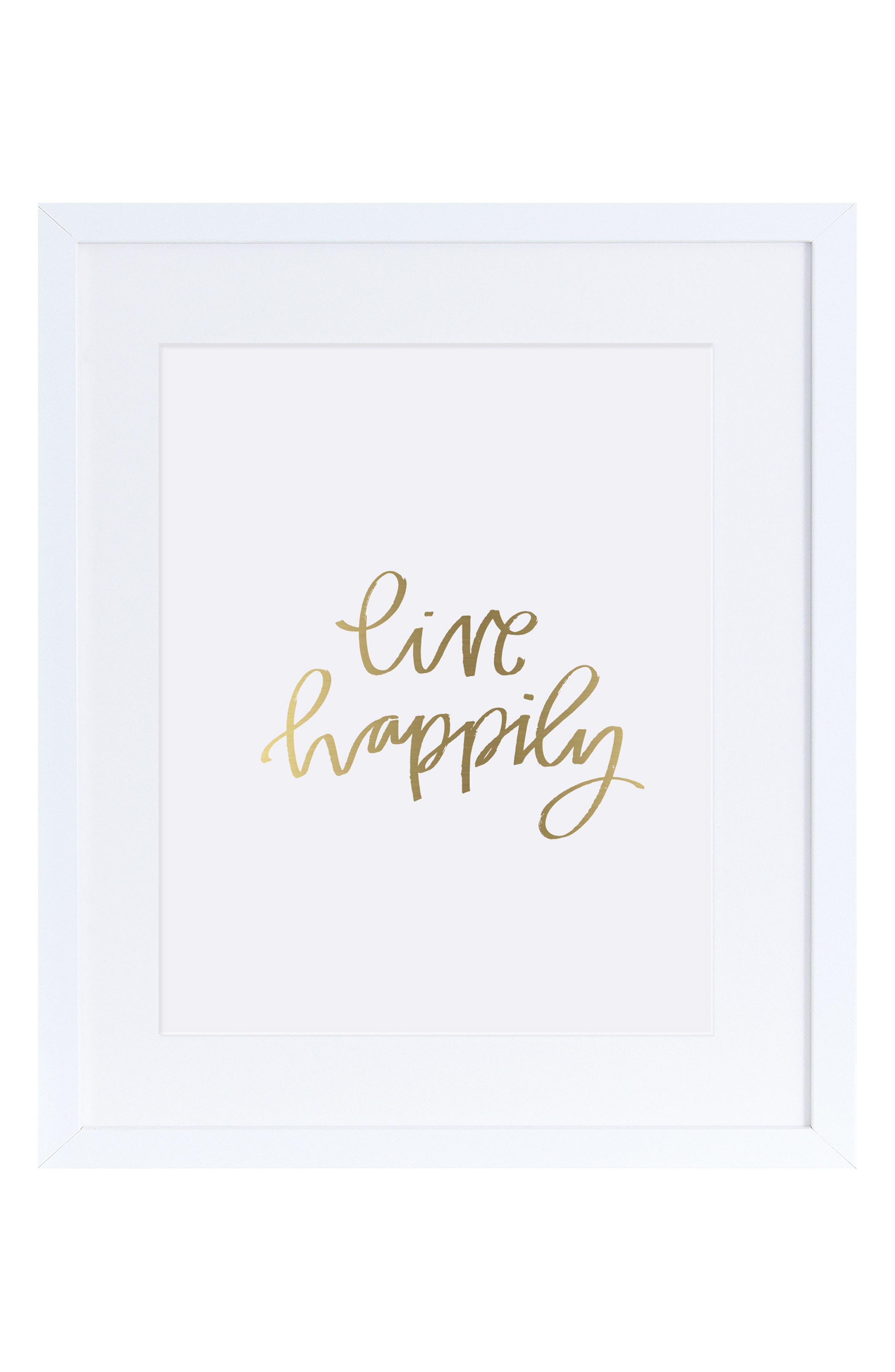 Live Happily Wall Art,                             Main thumbnail 1, color,                             Gold