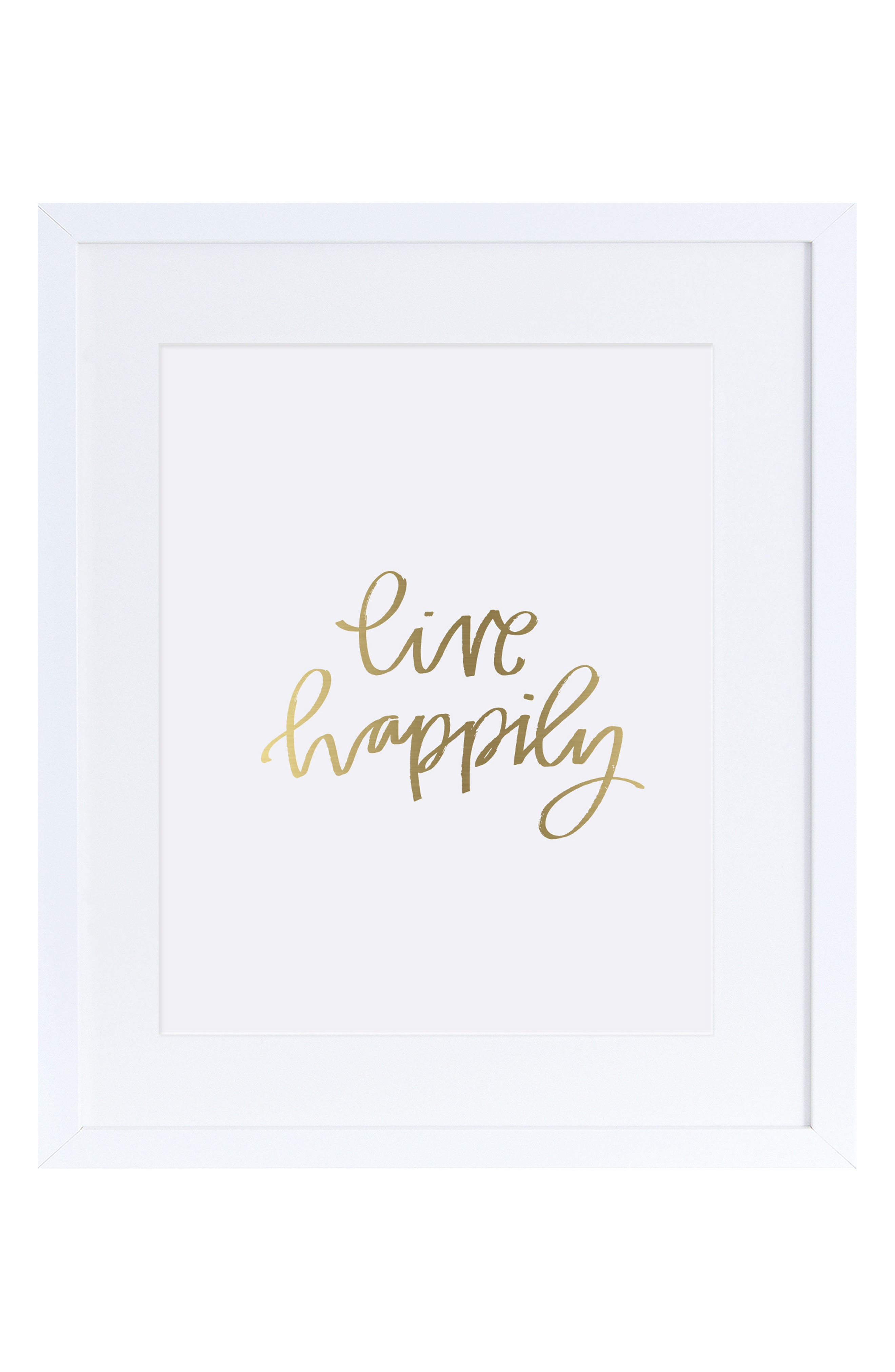 Live Happily Wall Art,                         Main,                         color, Gold