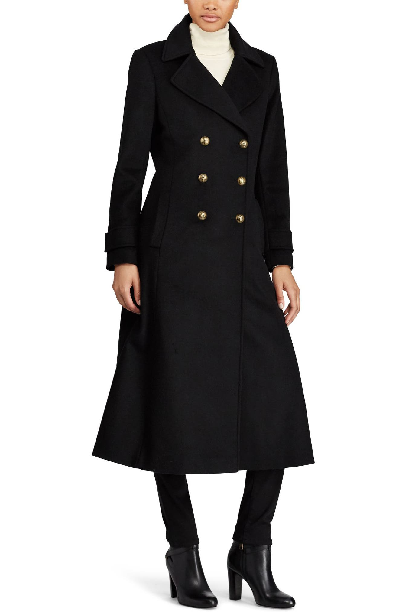 Double Breasted Long Coat,                             Main thumbnail 1, color,                             Black