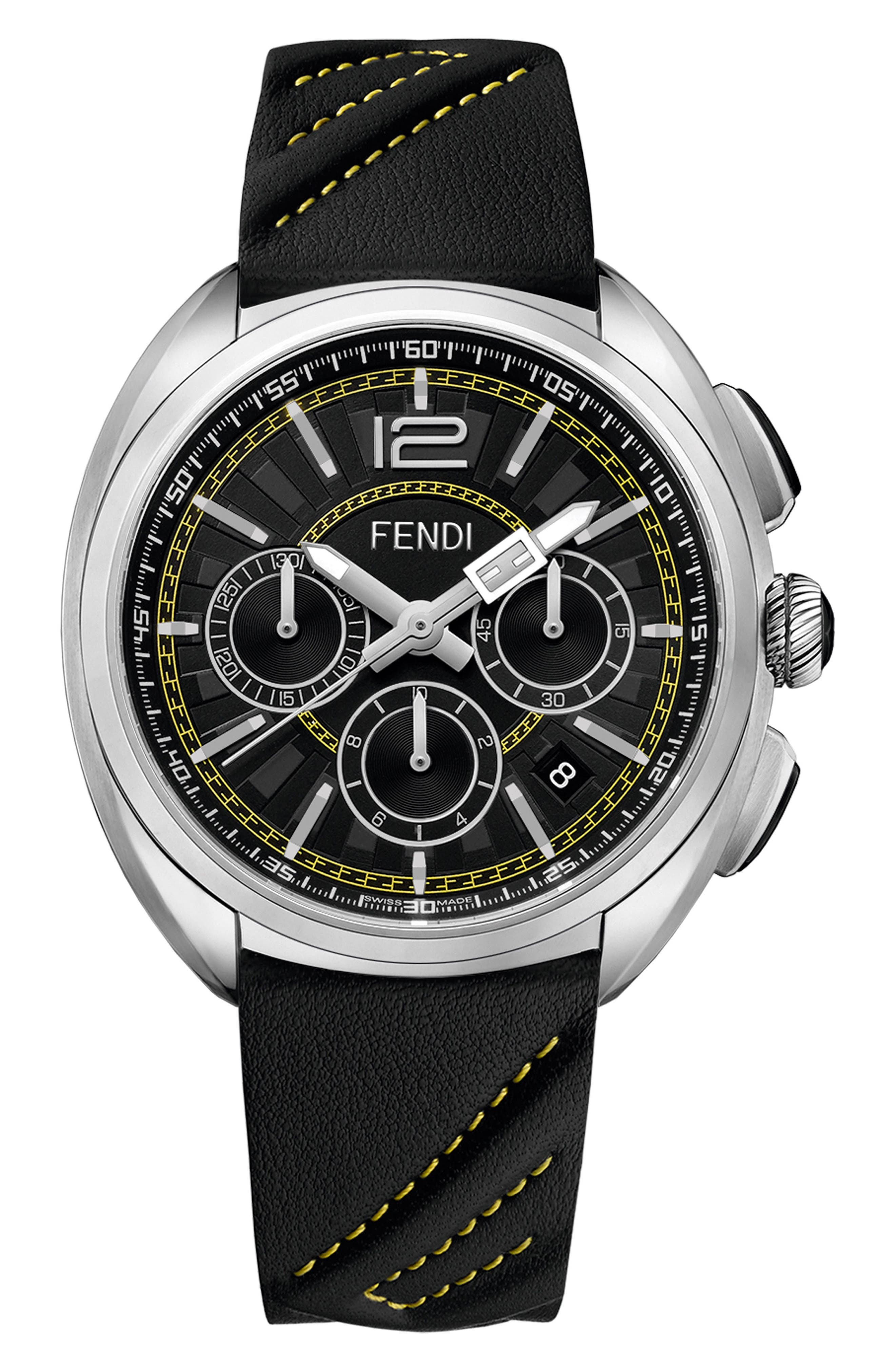 Momento Chronograph Leather Strap Watch, 46mm,                         Main,                         color, Black/ Silver